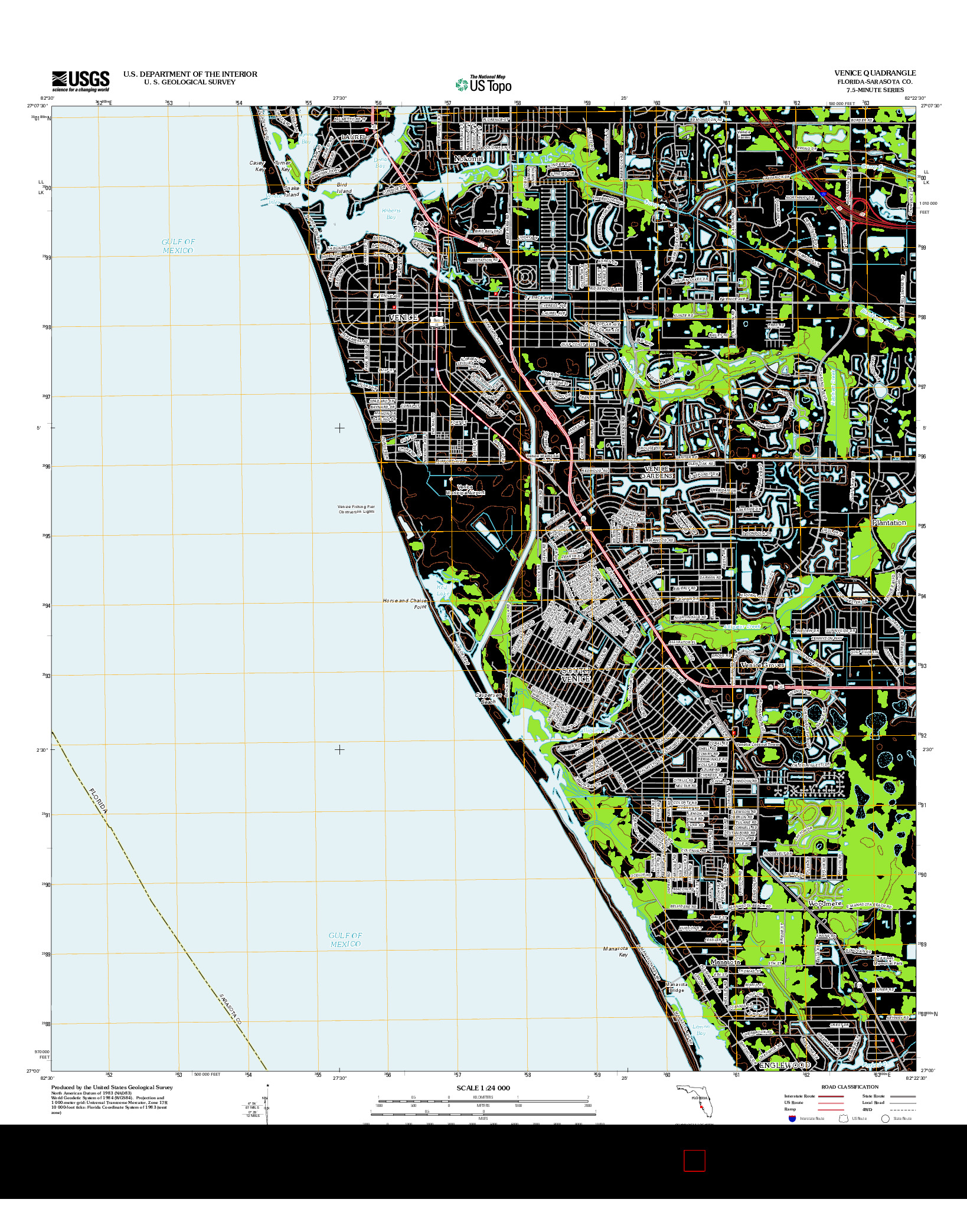 USGS US TOPO 7.5-MINUTE MAP FOR VENICE, FL 2012