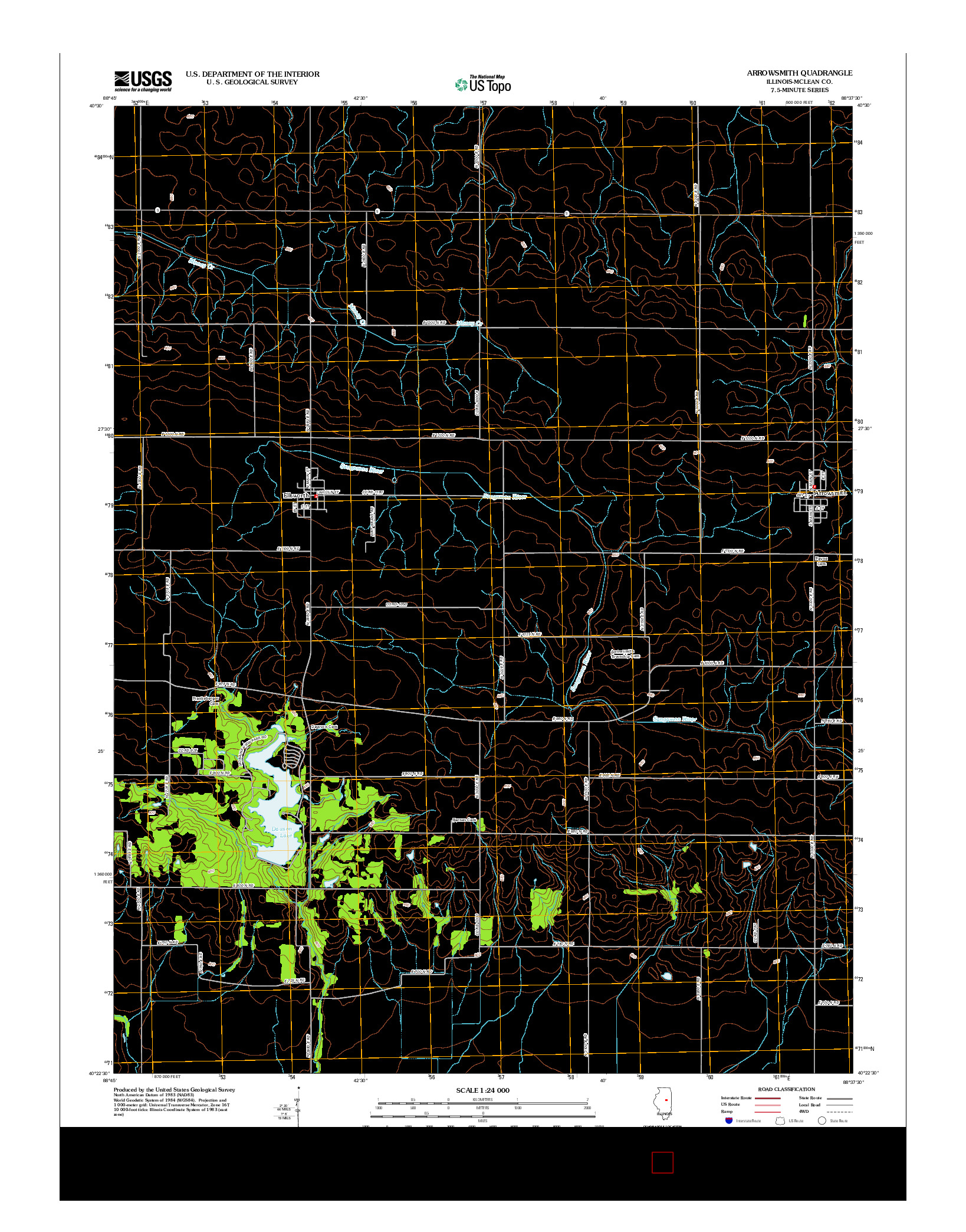 USGS US TOPO 7.5-MINUTE MAP FOR ARROWSMITH, IL 2012