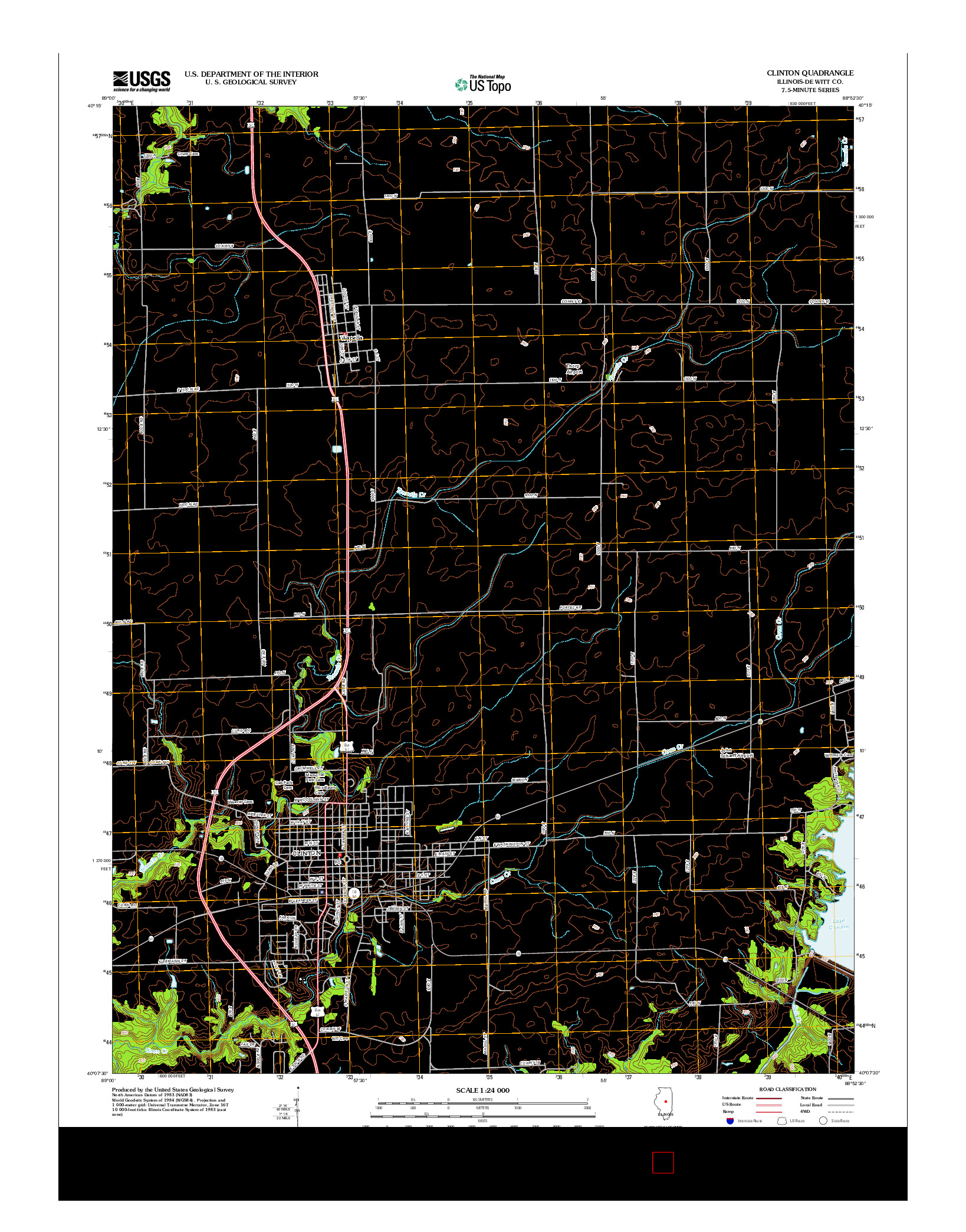 USGS US TOPO 7.5-MINUTE MAP FOR CLINTON, IL 2012