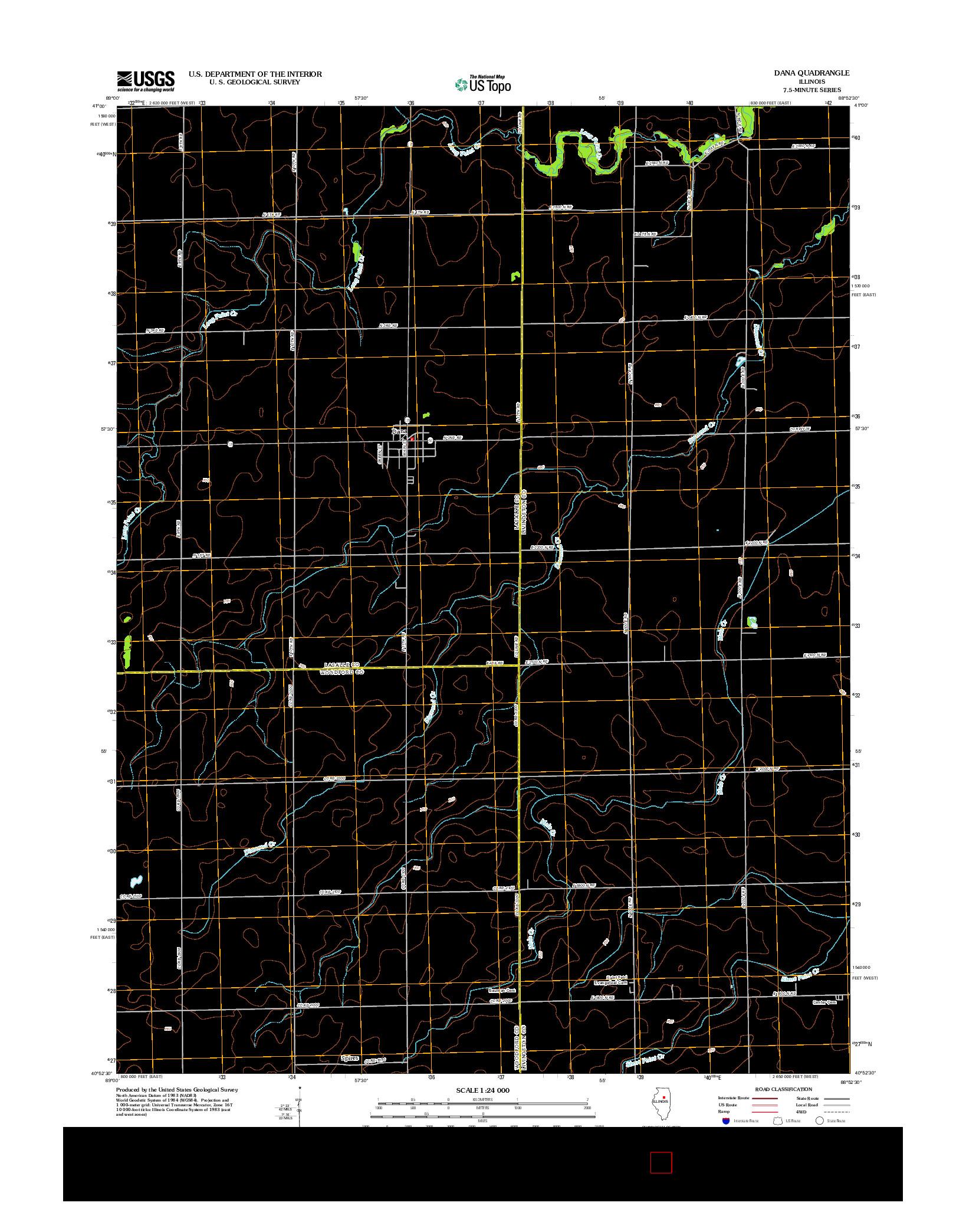 USGS US TOPO 7.5-MINUTE MAP FOR DANA, IL 2012
