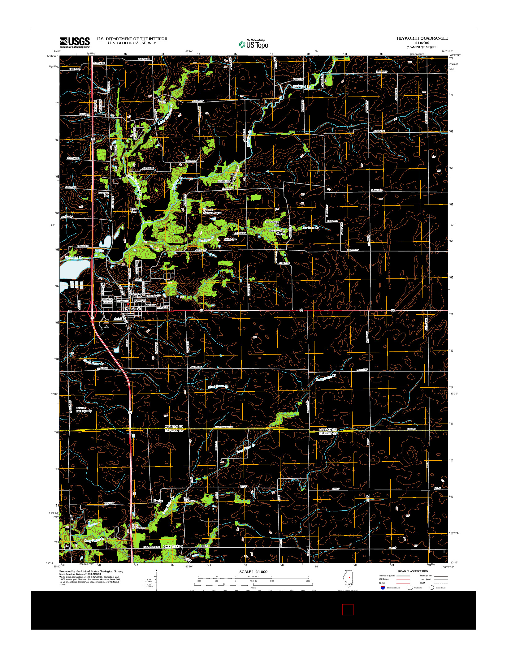 USGS US TOPO 7.5-MINUTE MAP FOR HEYWORTH, IL 2012