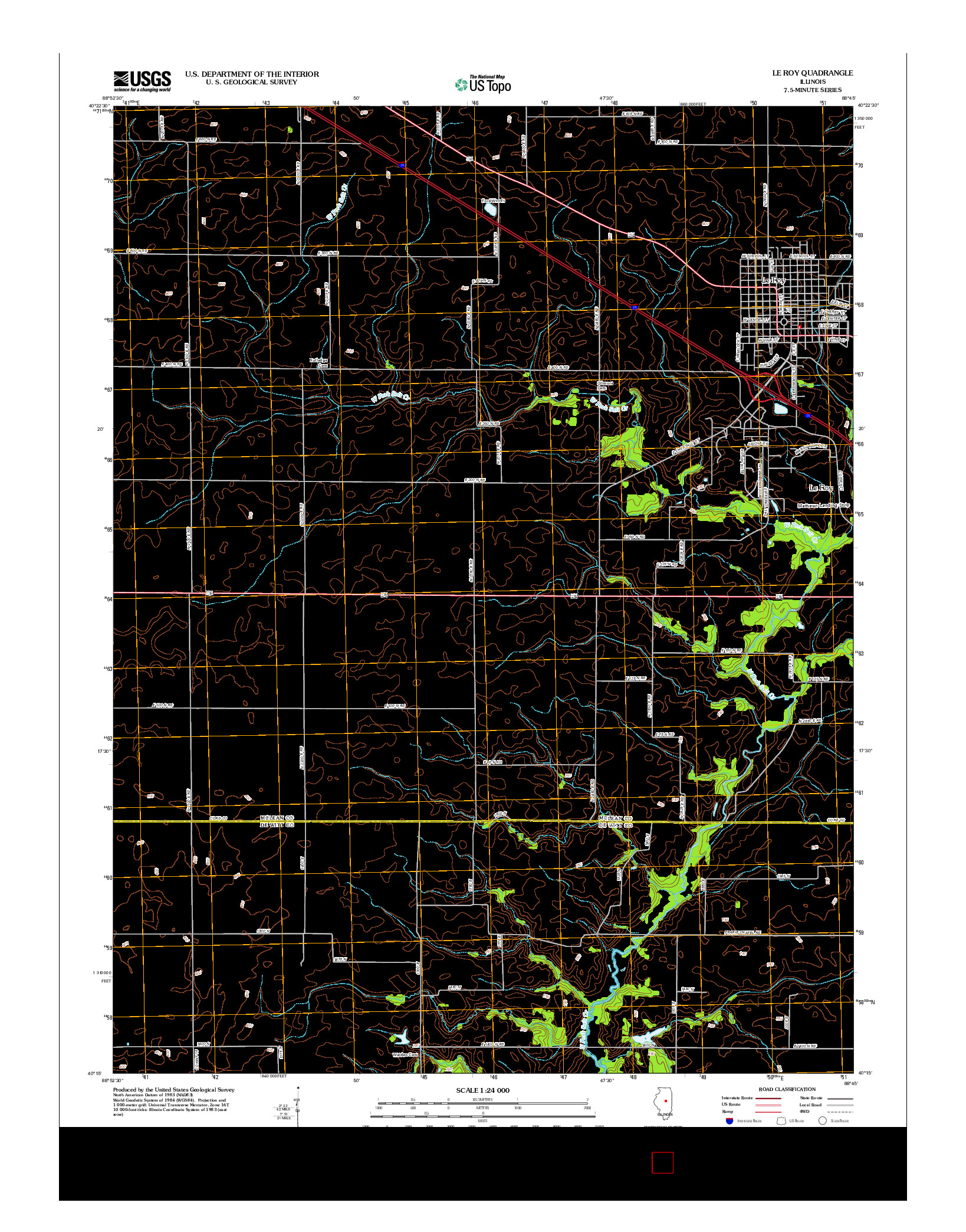 USGS US TOPO 7.5-MINUTE MAP FOR LE ROY, IL 2012