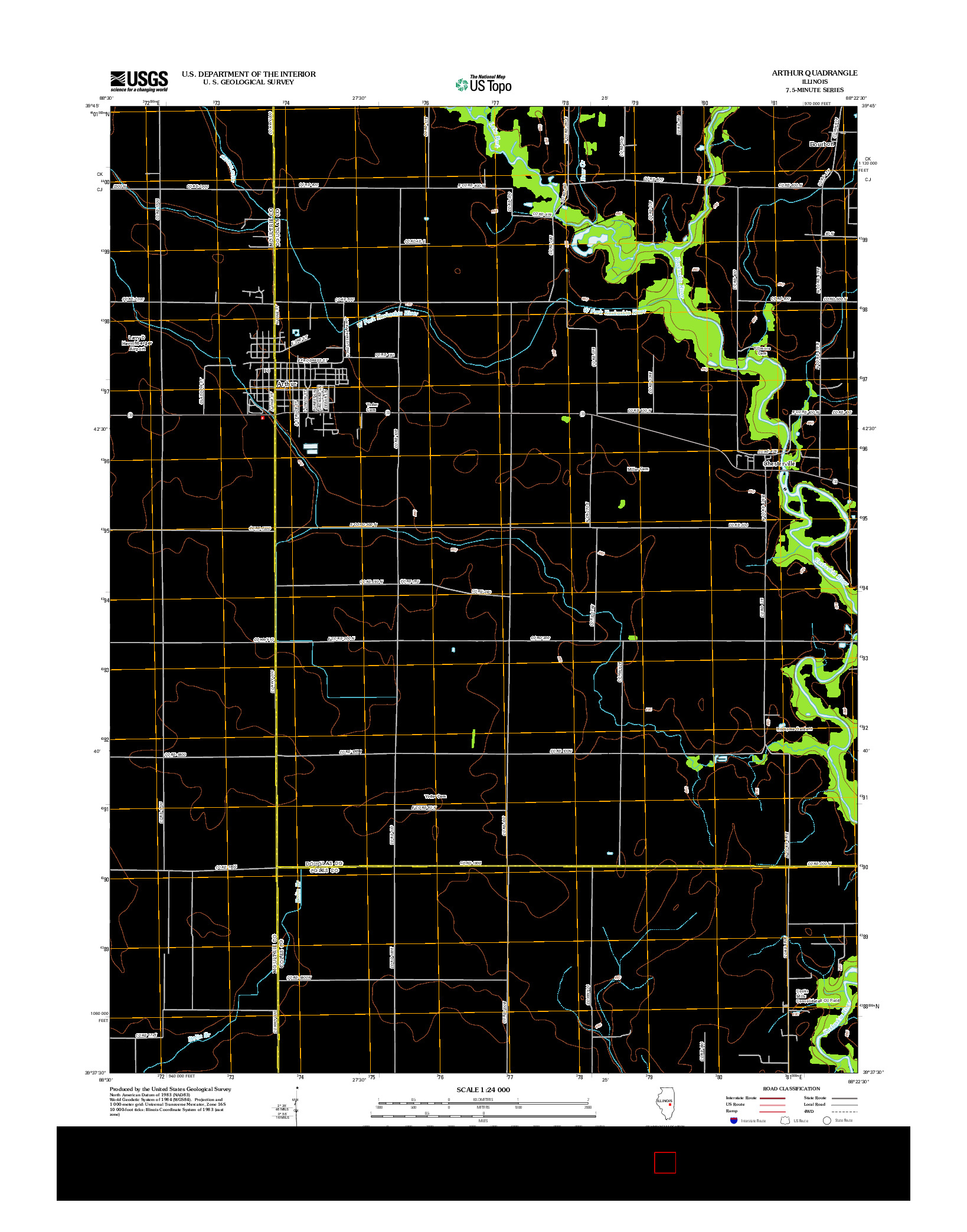 USGS US TOPO 7.5-MINUTE MAP FOR ARTHUR, IL 2012