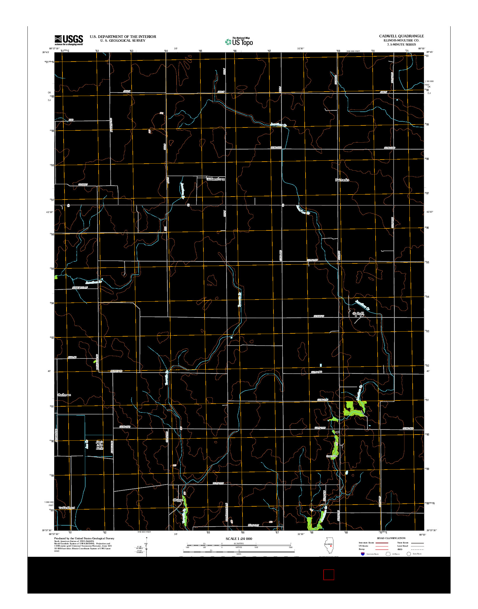 USGS US TOPO 7.5-MINUTE MAP FOR CADWELL, IL 2012