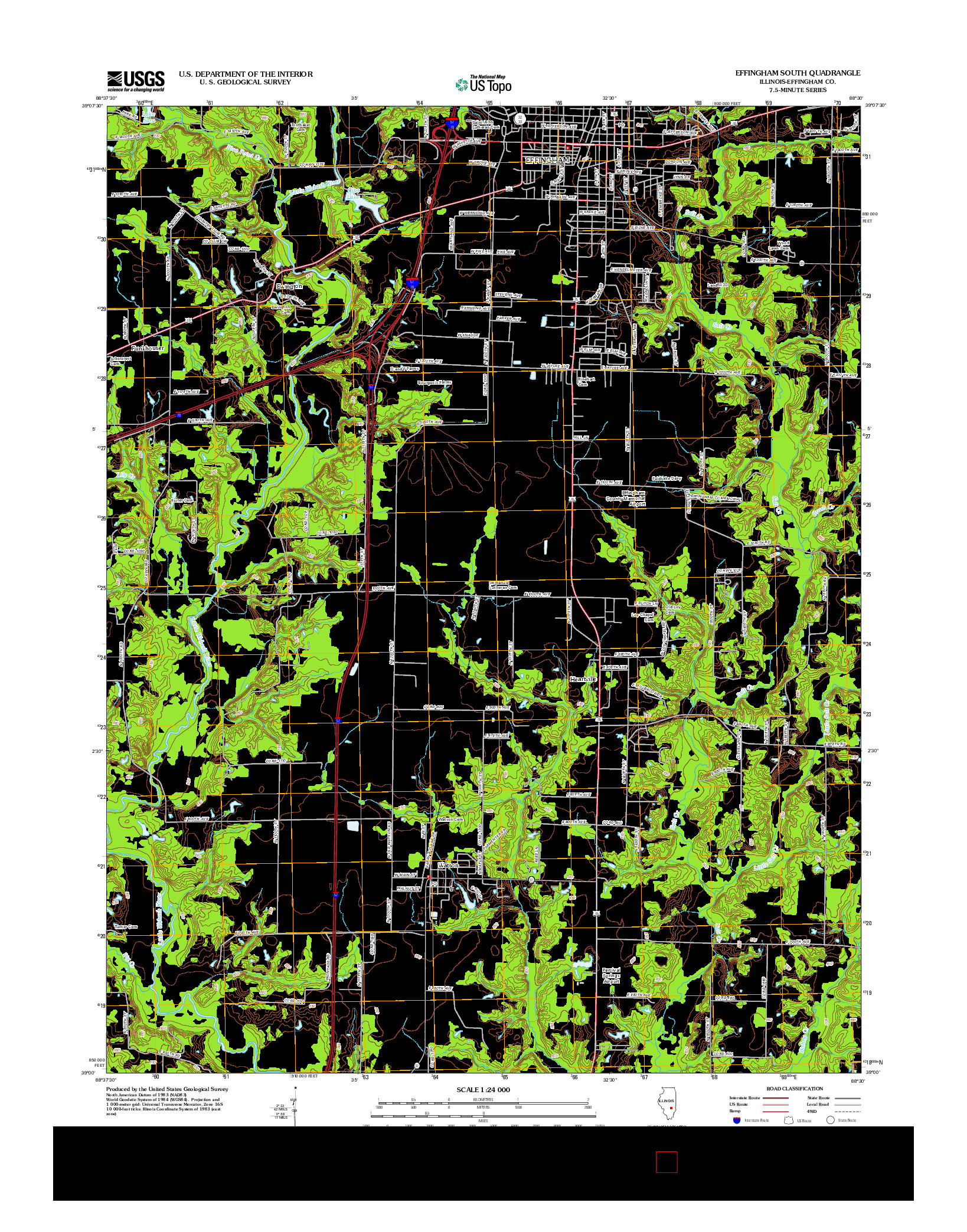 USGS US TOPO 7.5-MINUTE MAP FOR EFFINGHAM SOUTH, IL 2012