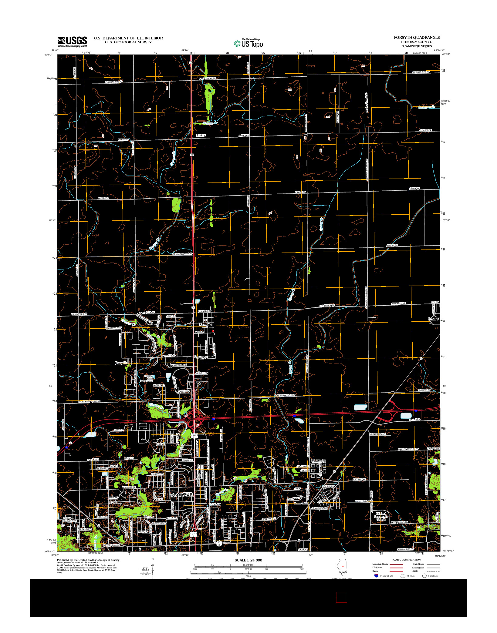 USGS US TOPO 7.5-MINUTE MAP FOR FORSYTH, IL 2012
