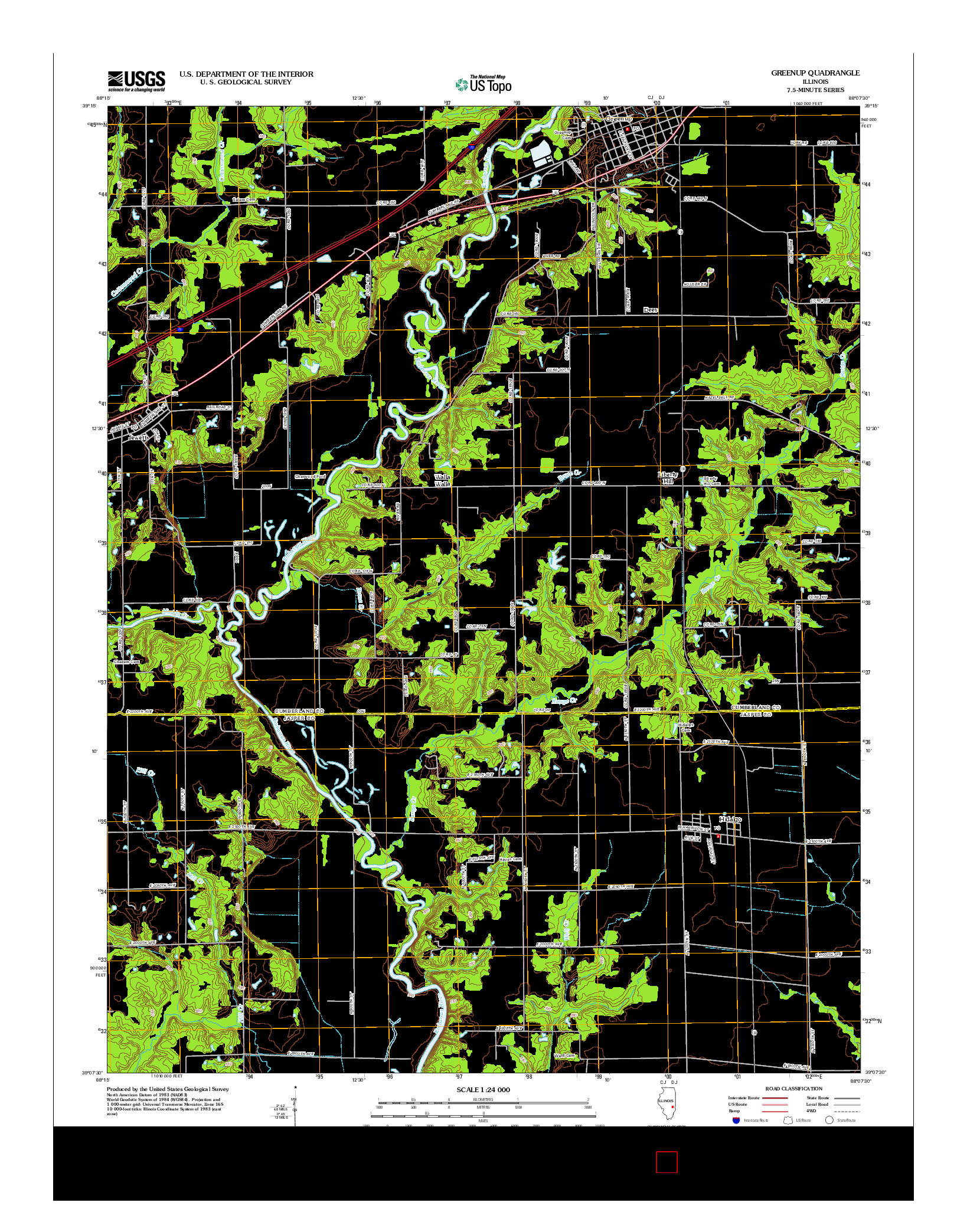USGS US TOPO 7.5-MINUTE MAP FOR GREENUP, IL 2012