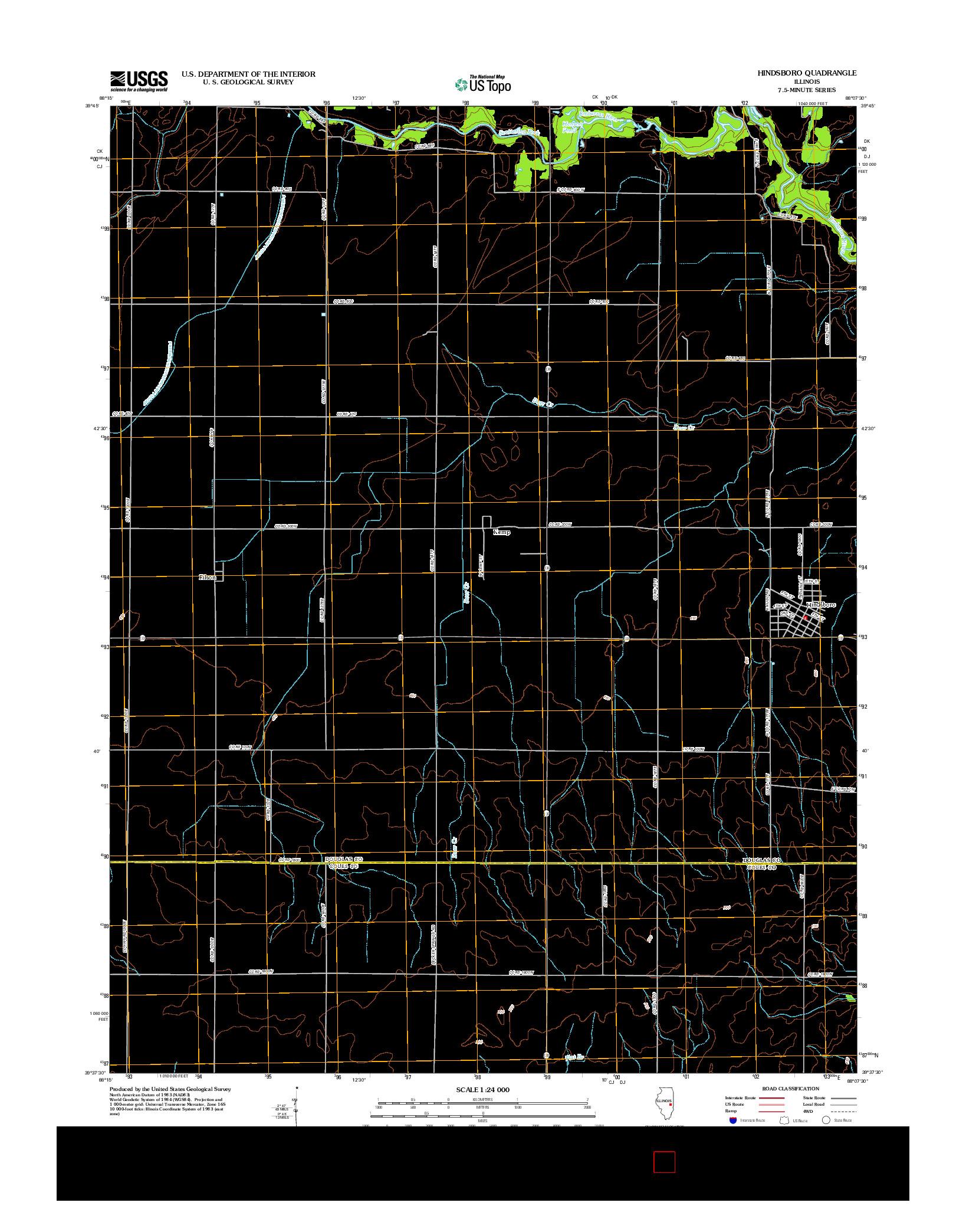 USGS US TOPO 7.5-MINUTE MAP FOR HINDSBORO, IL 2012