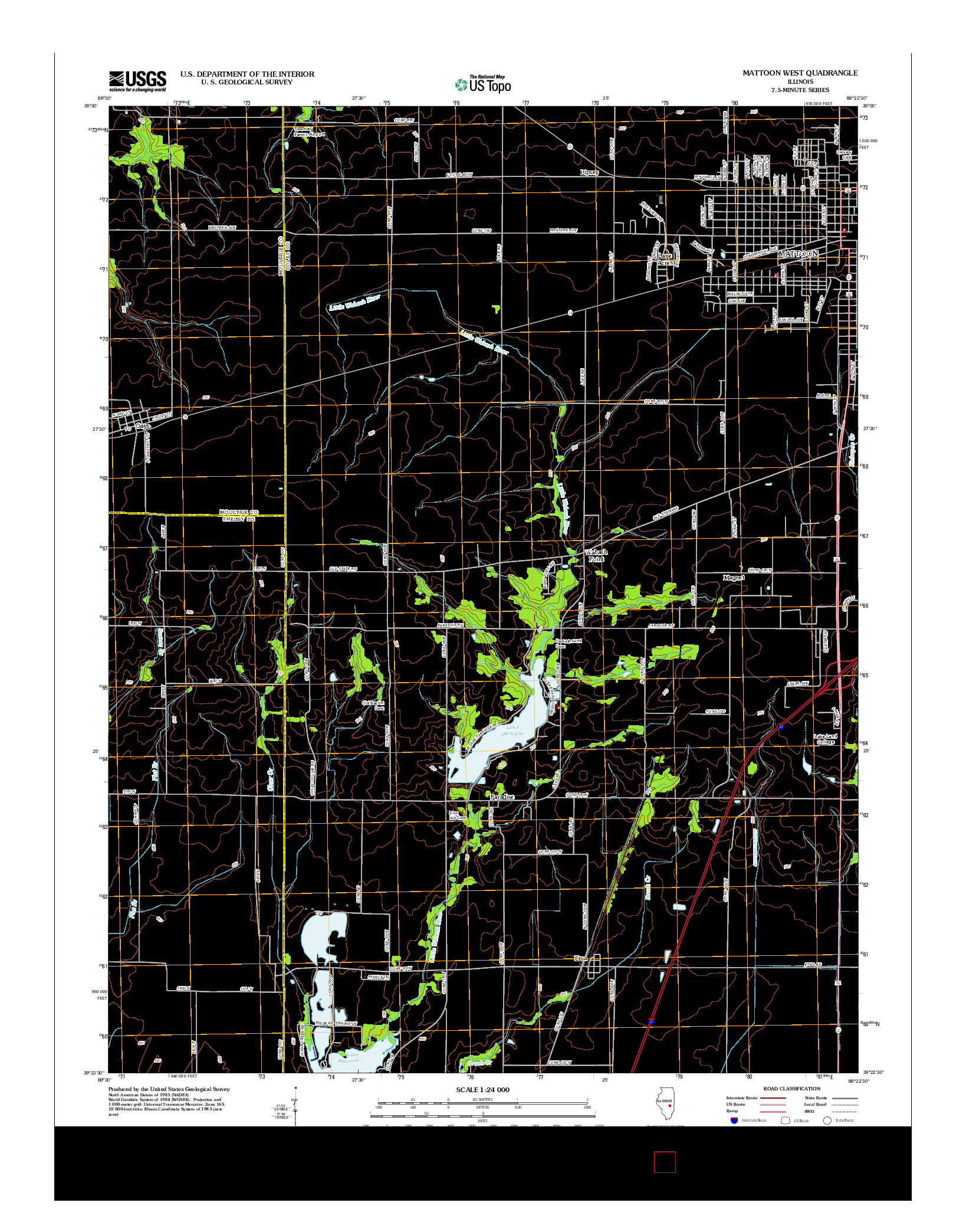 USGS US TOPO 7.5-MINUTE MAP FOR MATTOON WEST, IL 2012