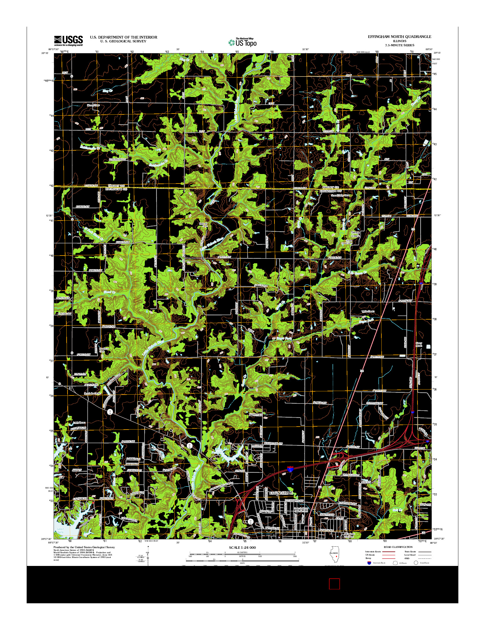 USGS US TOPO 7.5-MINUTE MAP FOR EFFINGHAM NORTH, IL 2012
