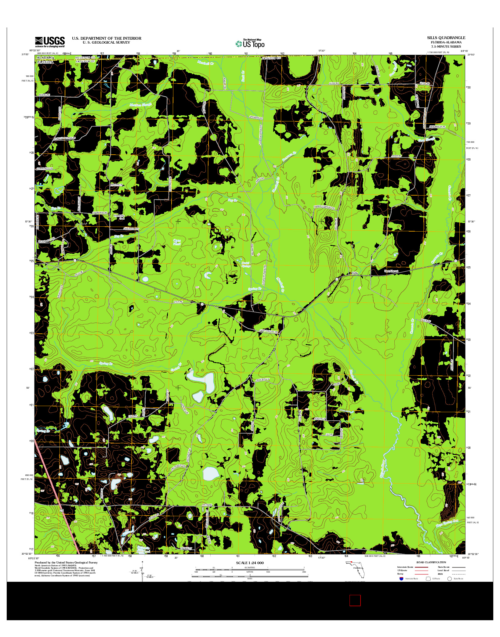 USGS US TOPO 7.5-MINUTE MAP FOR SILLS, FL-AL 2012