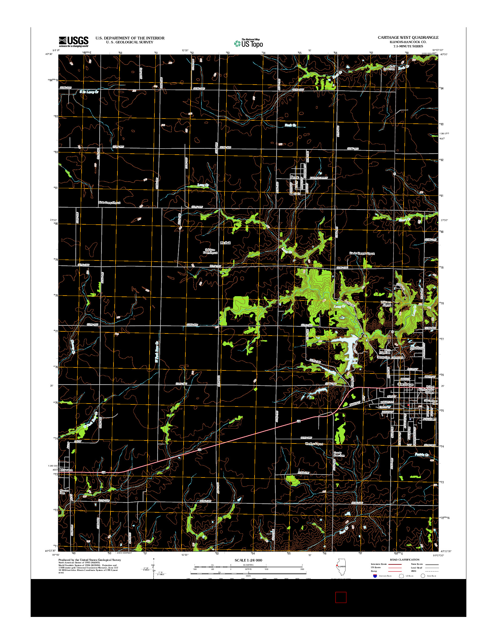USGS US TOPO 7.5-MINUTE MAP FOR CARTHAGE WEST, IL 2012