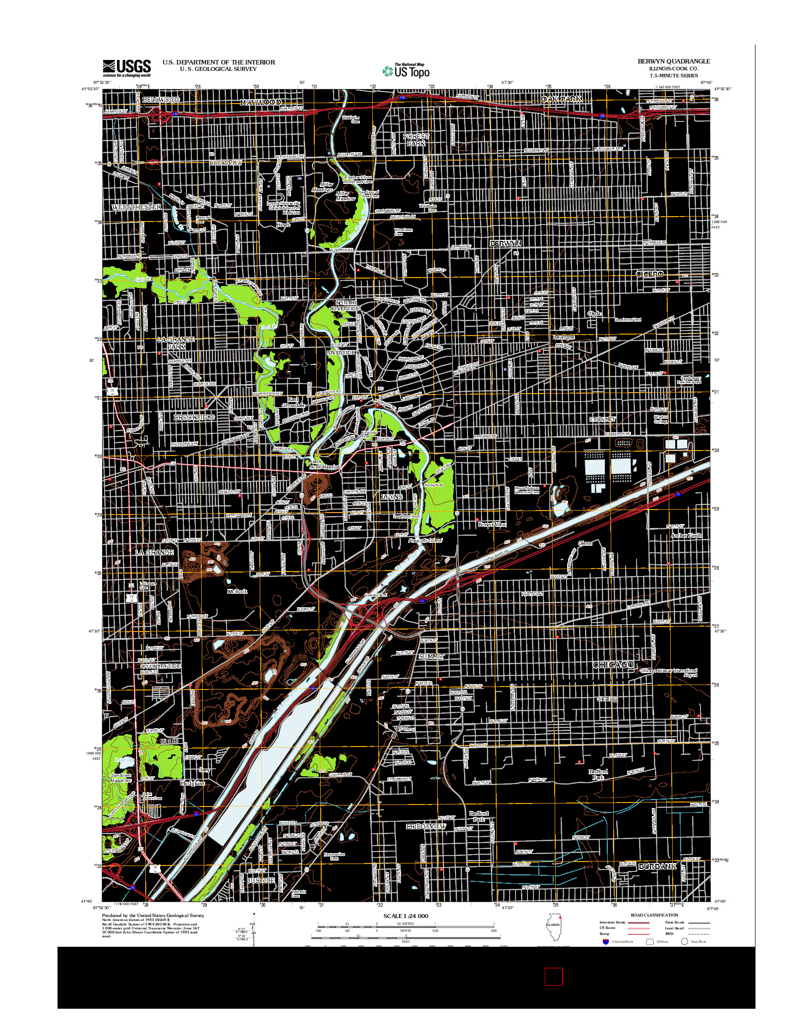 USGS US TOPO 7.5-MINUTE MAP FOR BERWYN, IL 2012