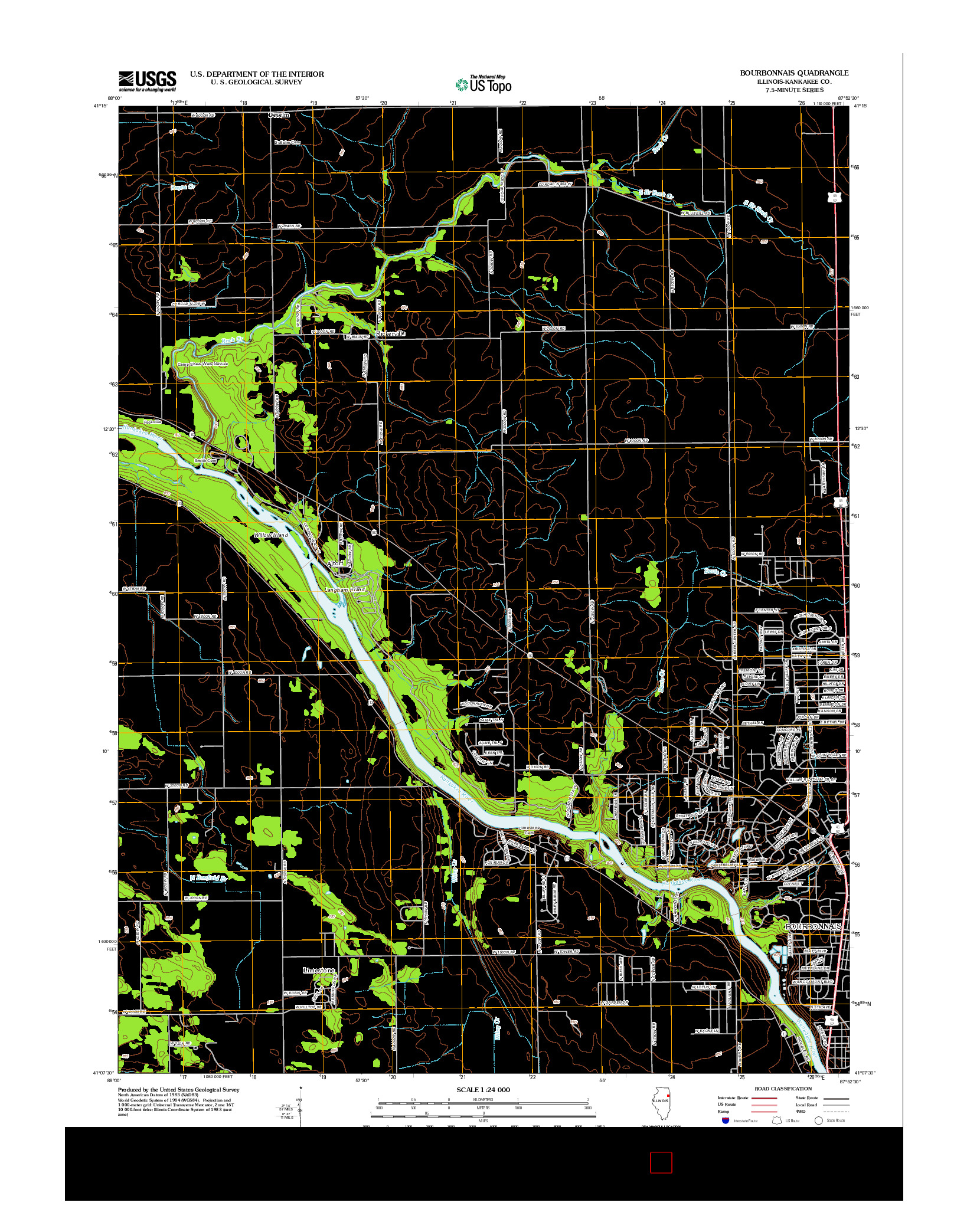 USGS US TOPO 7.5-MINUTE MAP FOR BOURBONNAIS, IL 2012
