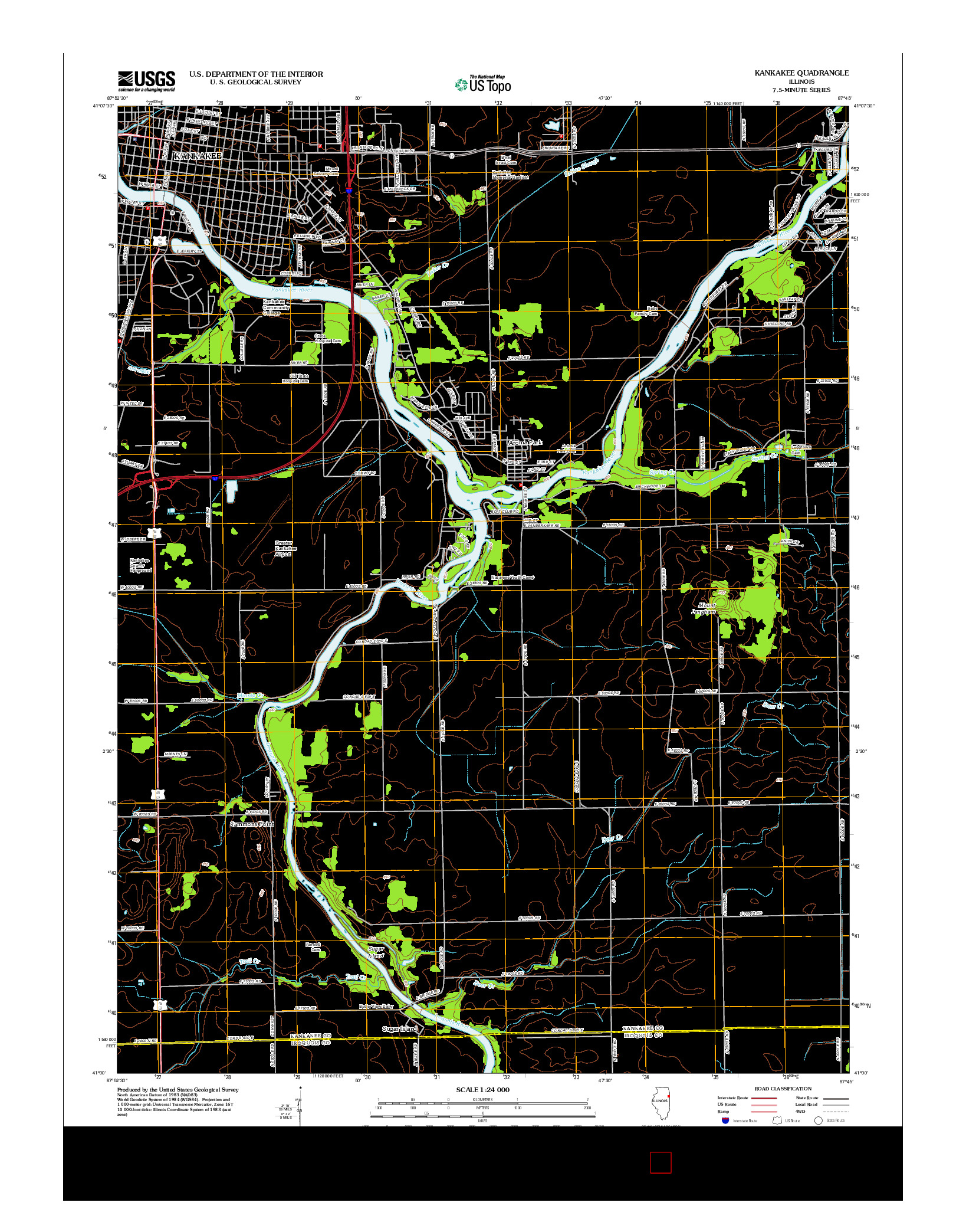 USGS US TOPO 7.5-MINUTE MAP FOR KANKAKEE, IL 2012