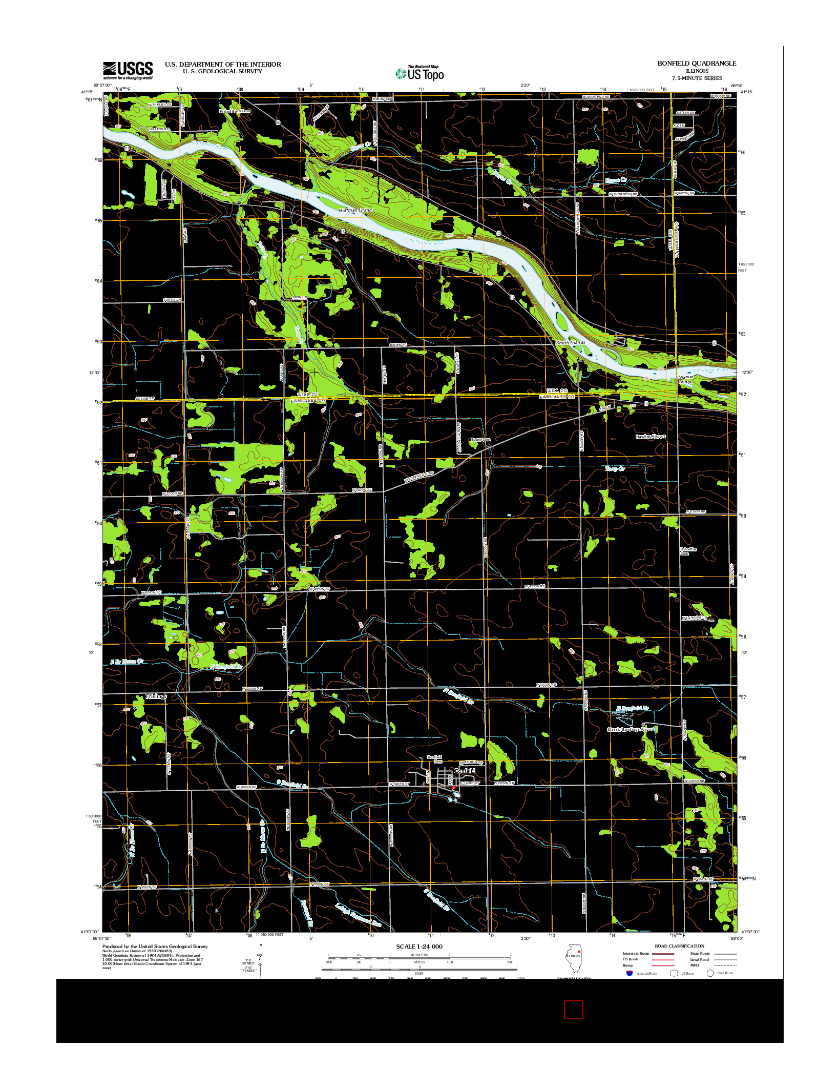 USGS US TOPO 7.5-MINUTE MAP FOR BONFIELD, IL 2012