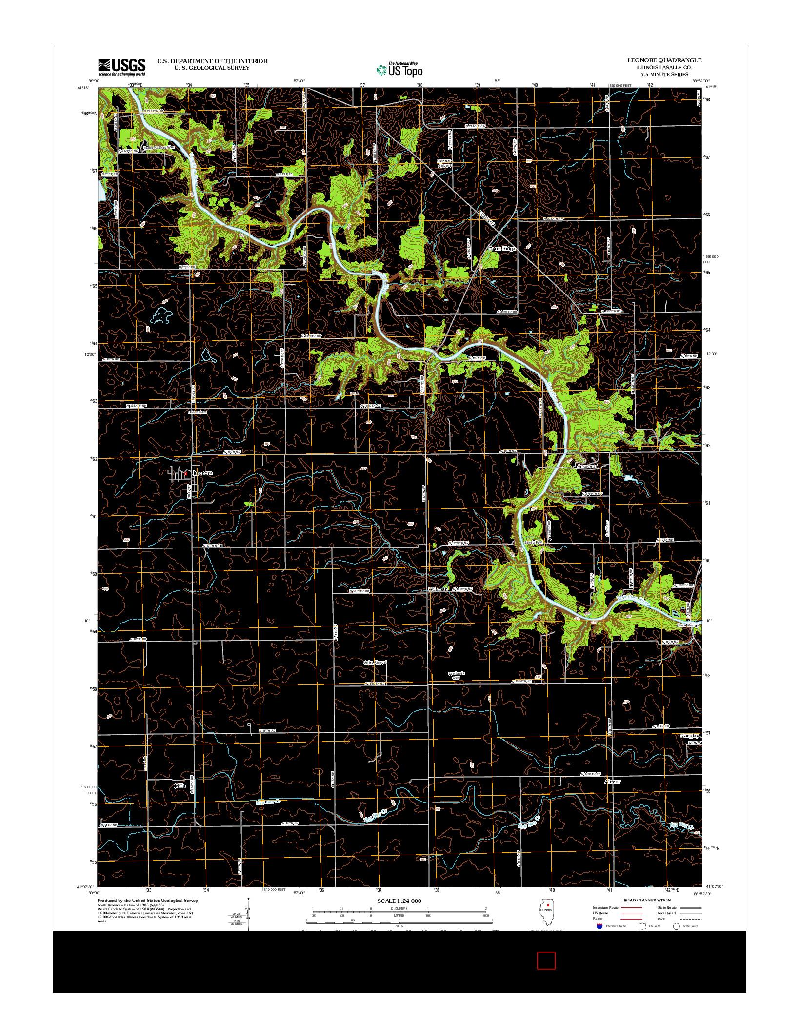 USGS US TOPO 7.5-MINUTE MAP FOR LEONORE, IL 2012