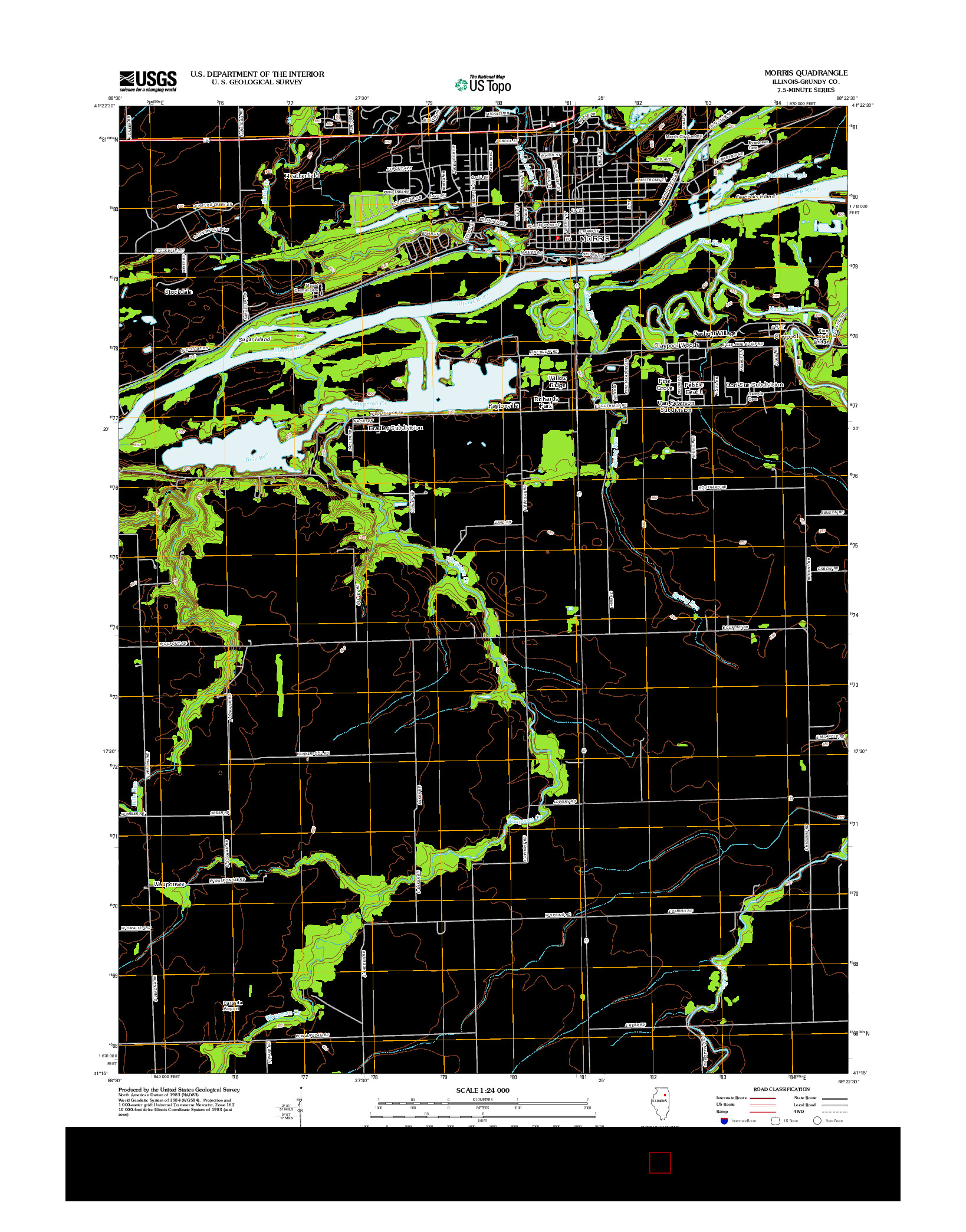 USGS US TOPO 7.5-MINUTE MAP FOR MORRIS, IL 2012