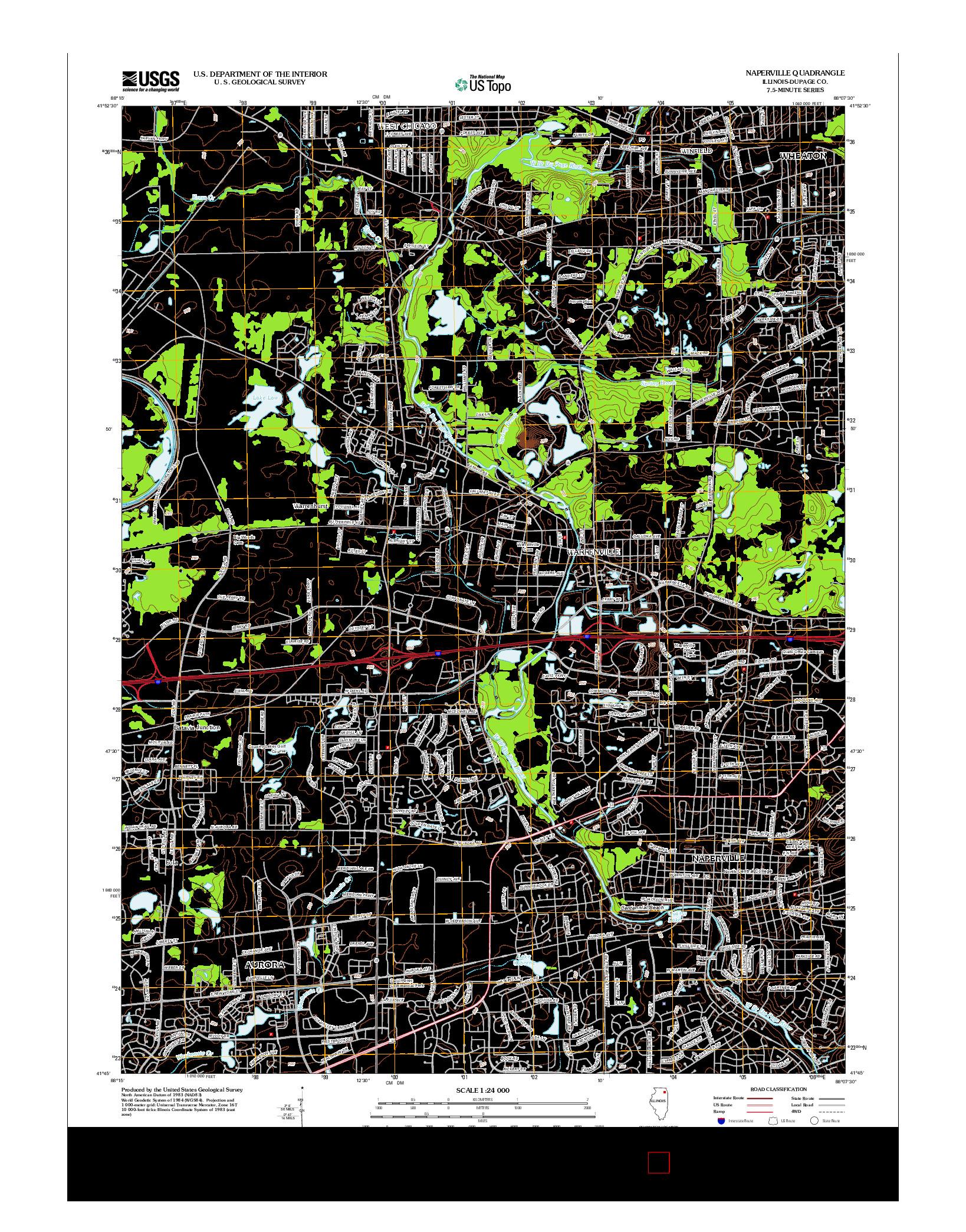 USGS US TOPO 7.5-MINUTE MAP FOR NAPERVILLE, IL 2012
