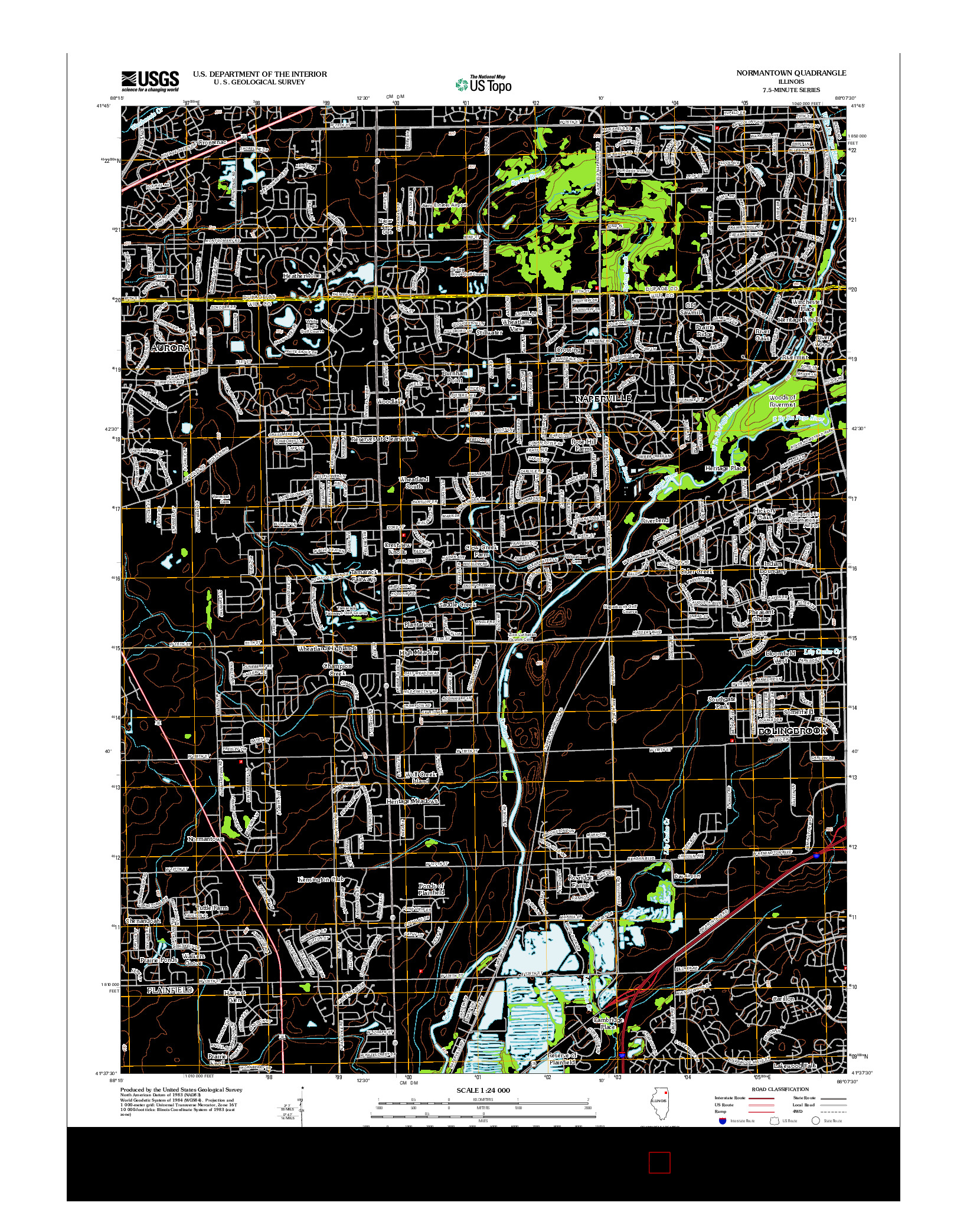 USGS US TOPO 7.5-MINUTE MAP FOR NORMANTOWN, IL 2012