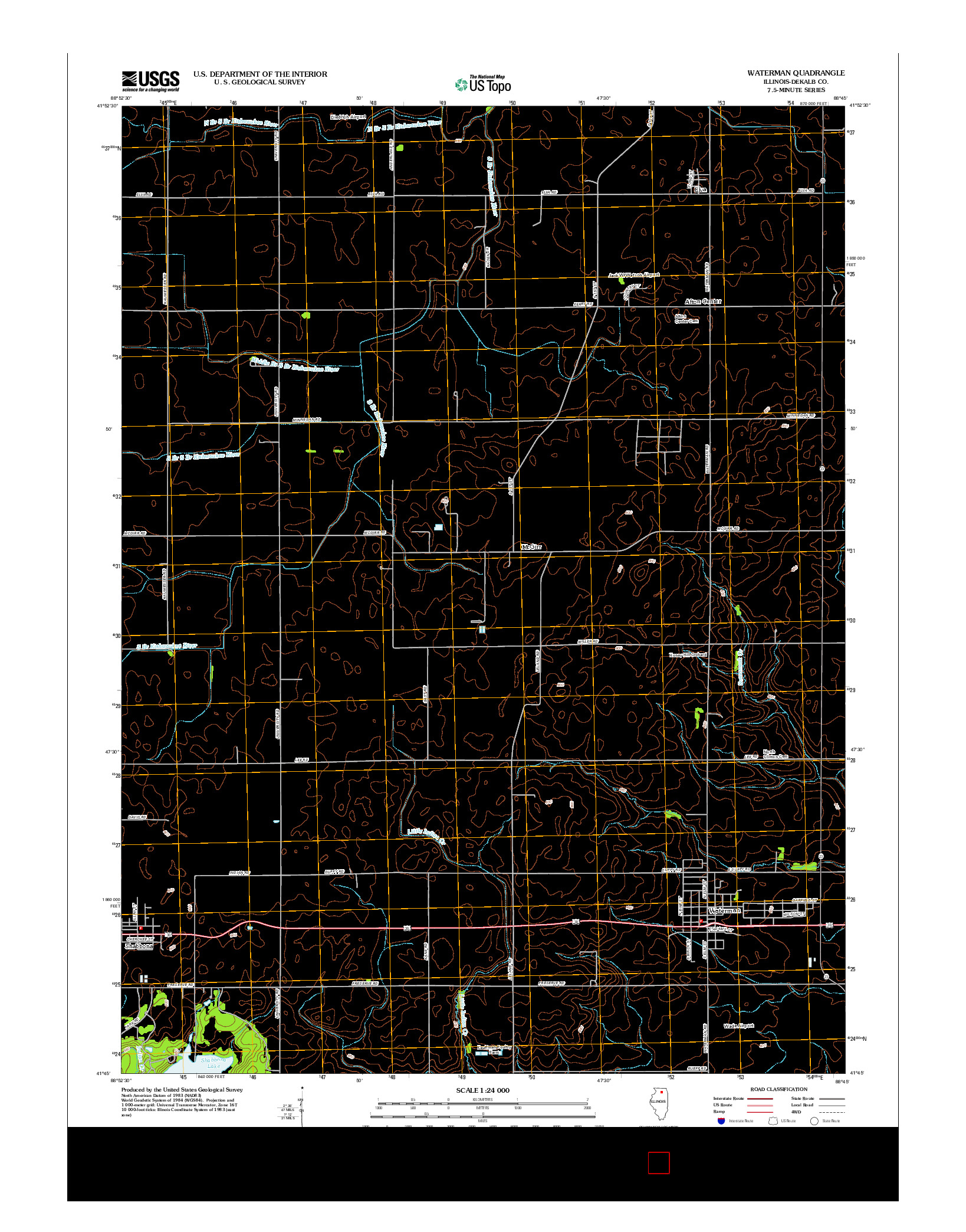 USGS US TOPO 7.5-MINUTE MAP FOR WATERMAN, IL 2012
