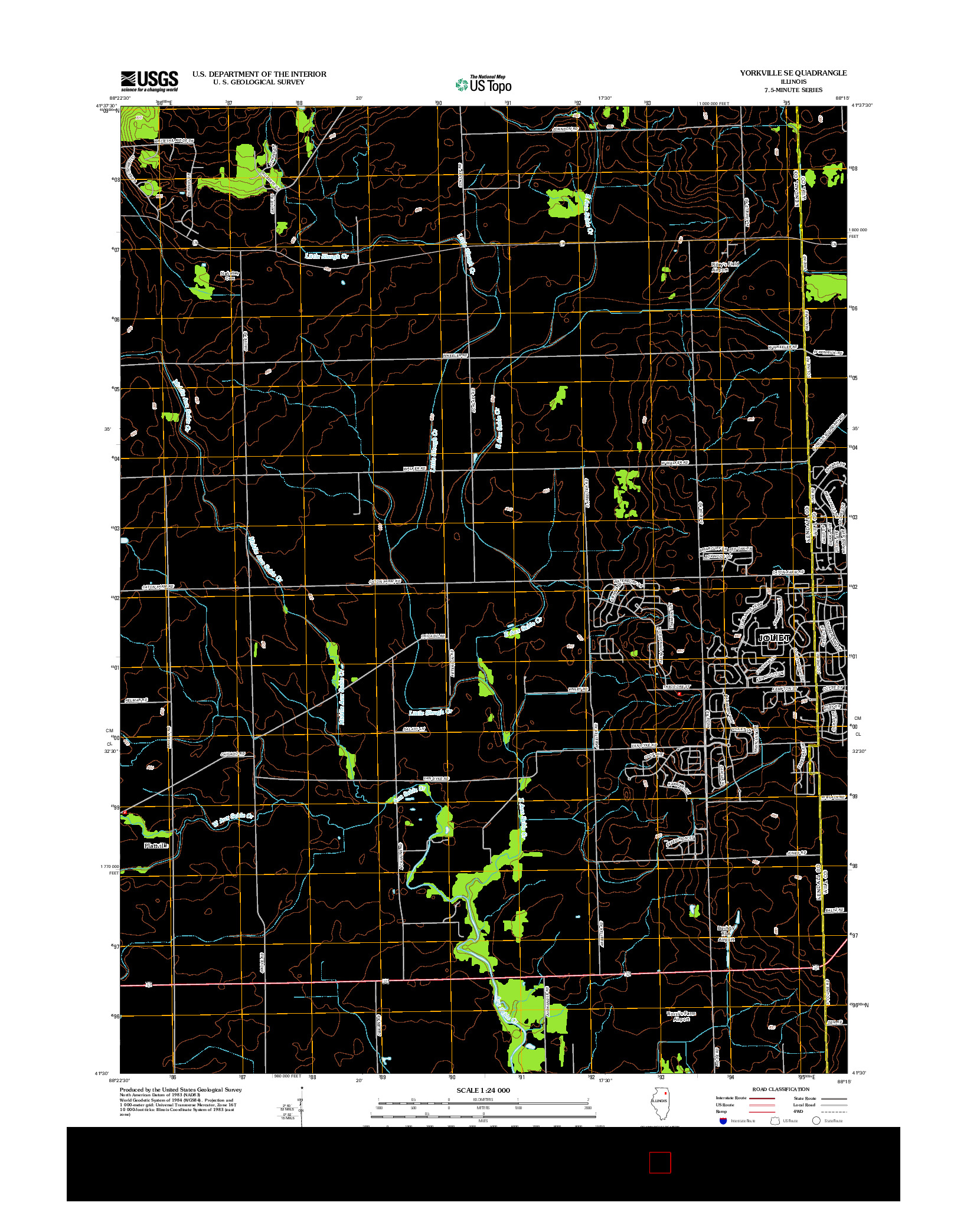USGS US TOPO 7.5-MINUTE MAP FOR YORKVILLE SE, IL 2012
