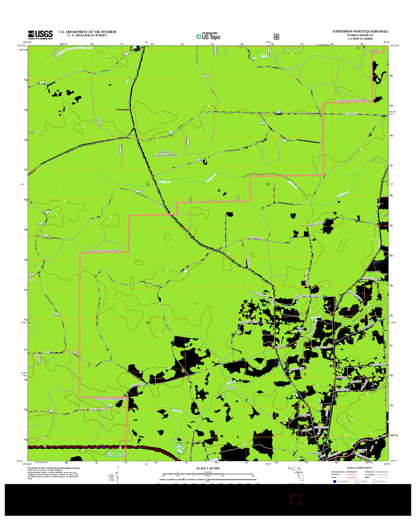 USGS US TOPO 7.5-MINUTE MAP FOR SANDERSON NORTH, FL 2012