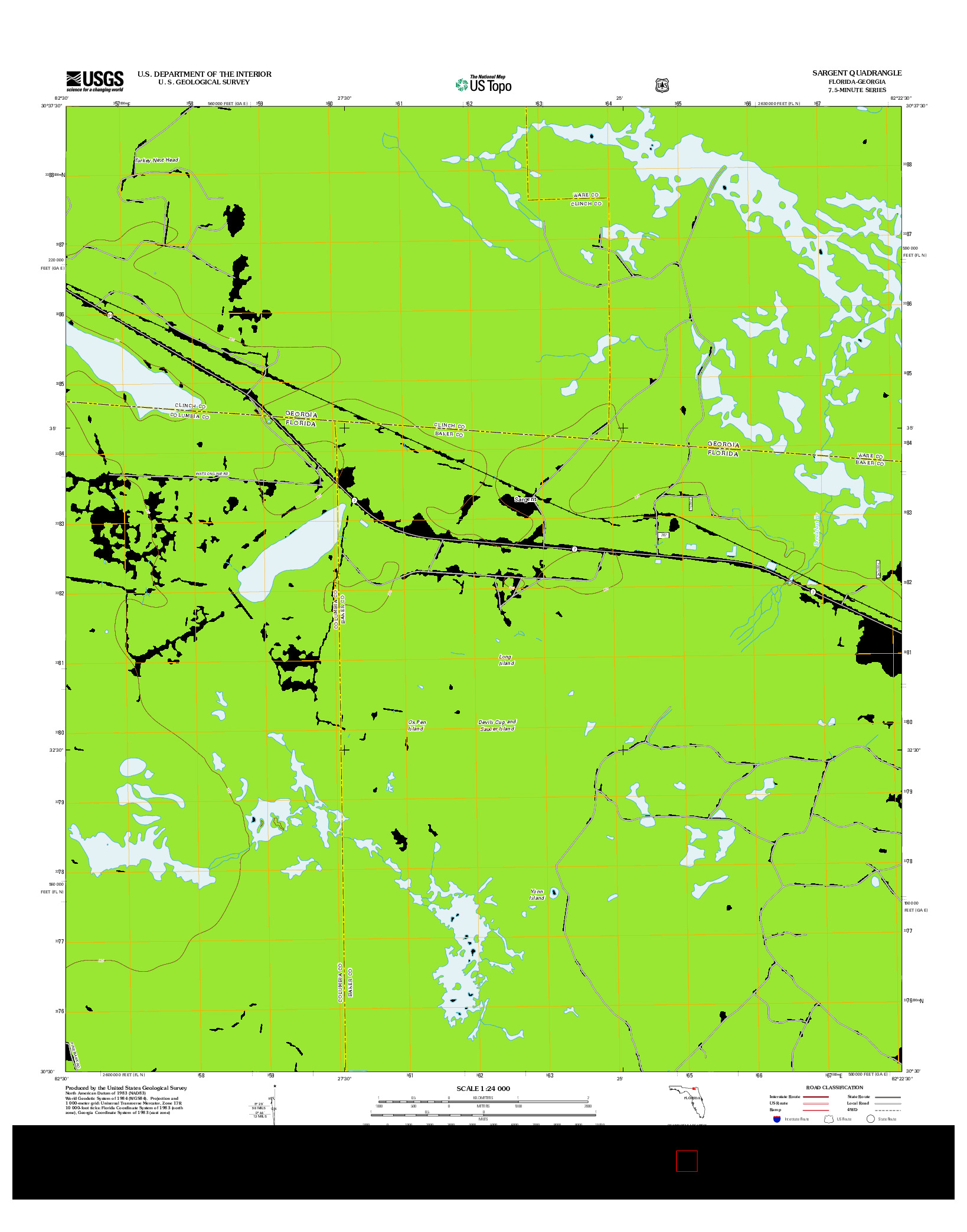 USGS US TOPO 7.5-MINUTE MAP FOR SARGENT, FL-GA 2012