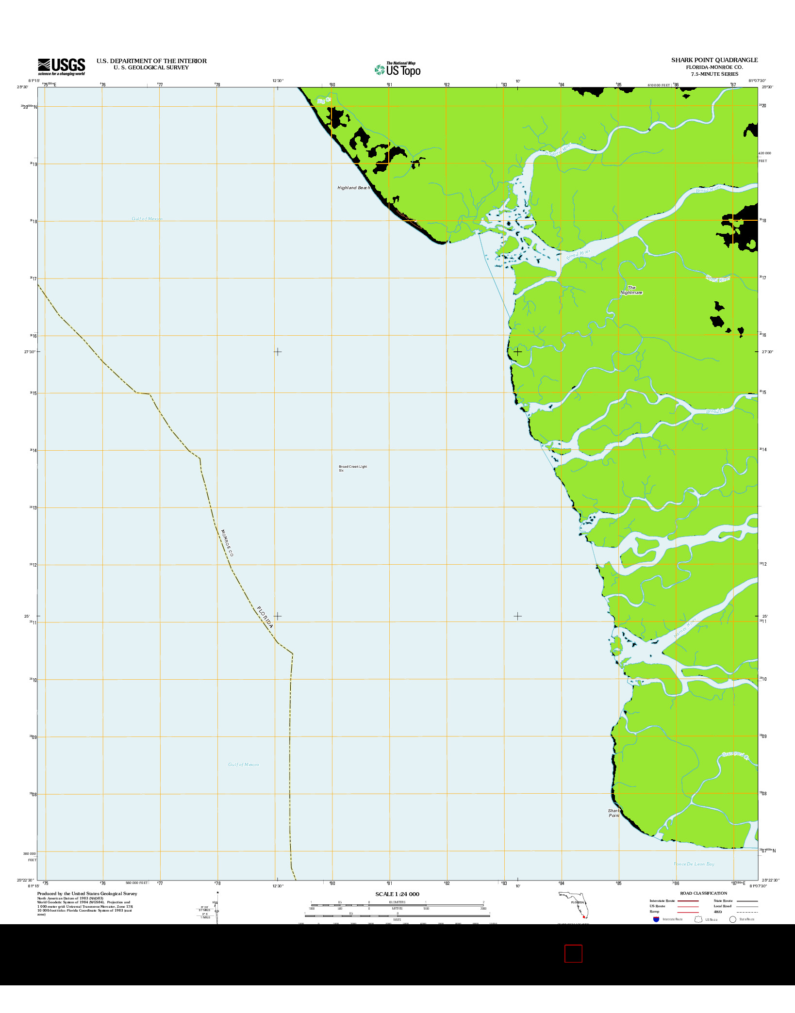 USGS US TOPO 7.5-MINUTE MAP FOR SHARK POINT, FL 2012