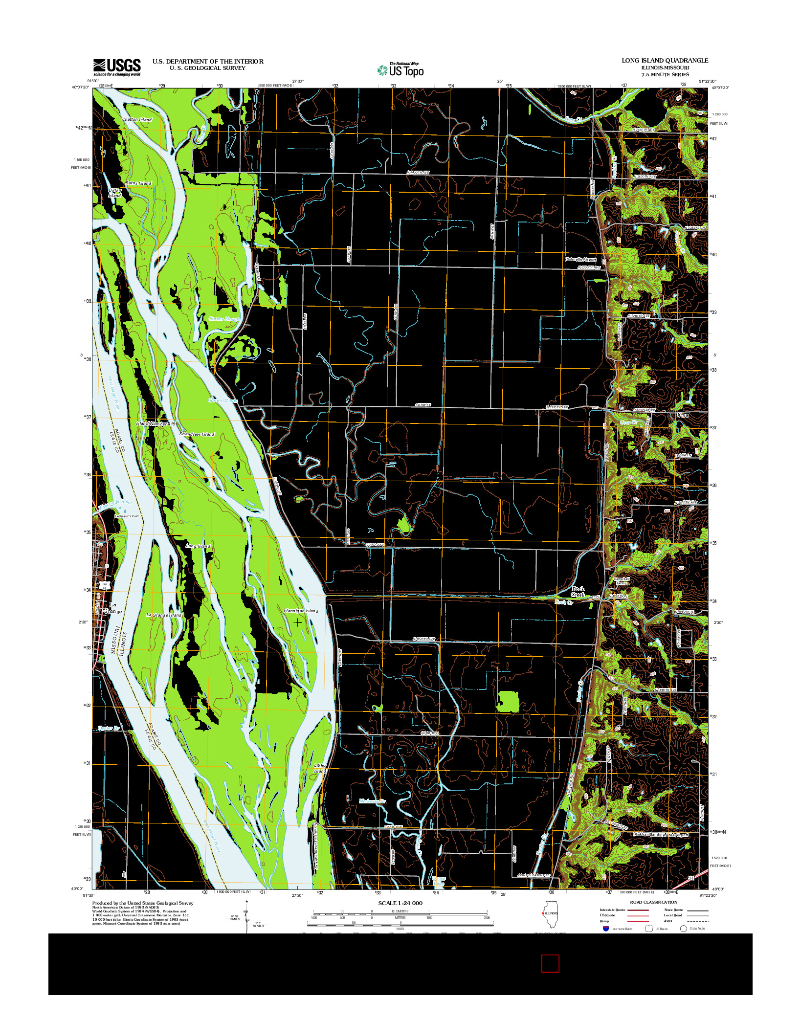 USGS US TOPO 7.5-MINUTE MAP FOR LONG ISLAND, IL-MO 2012