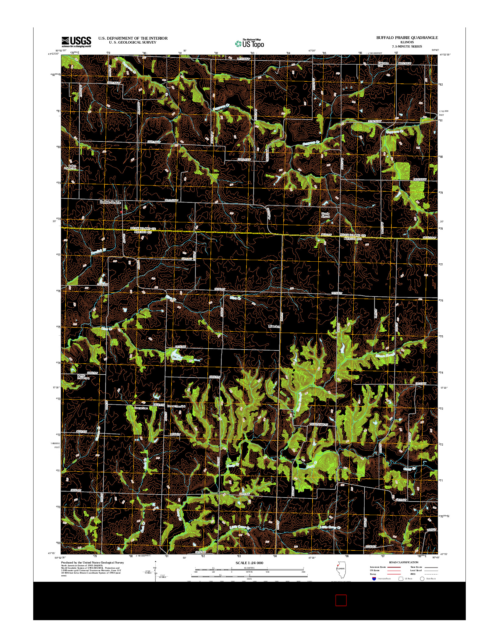 USGS US TOPO 7.5-MINUTE MAP FOR BUFFALO PRAIRIE, IL 2012