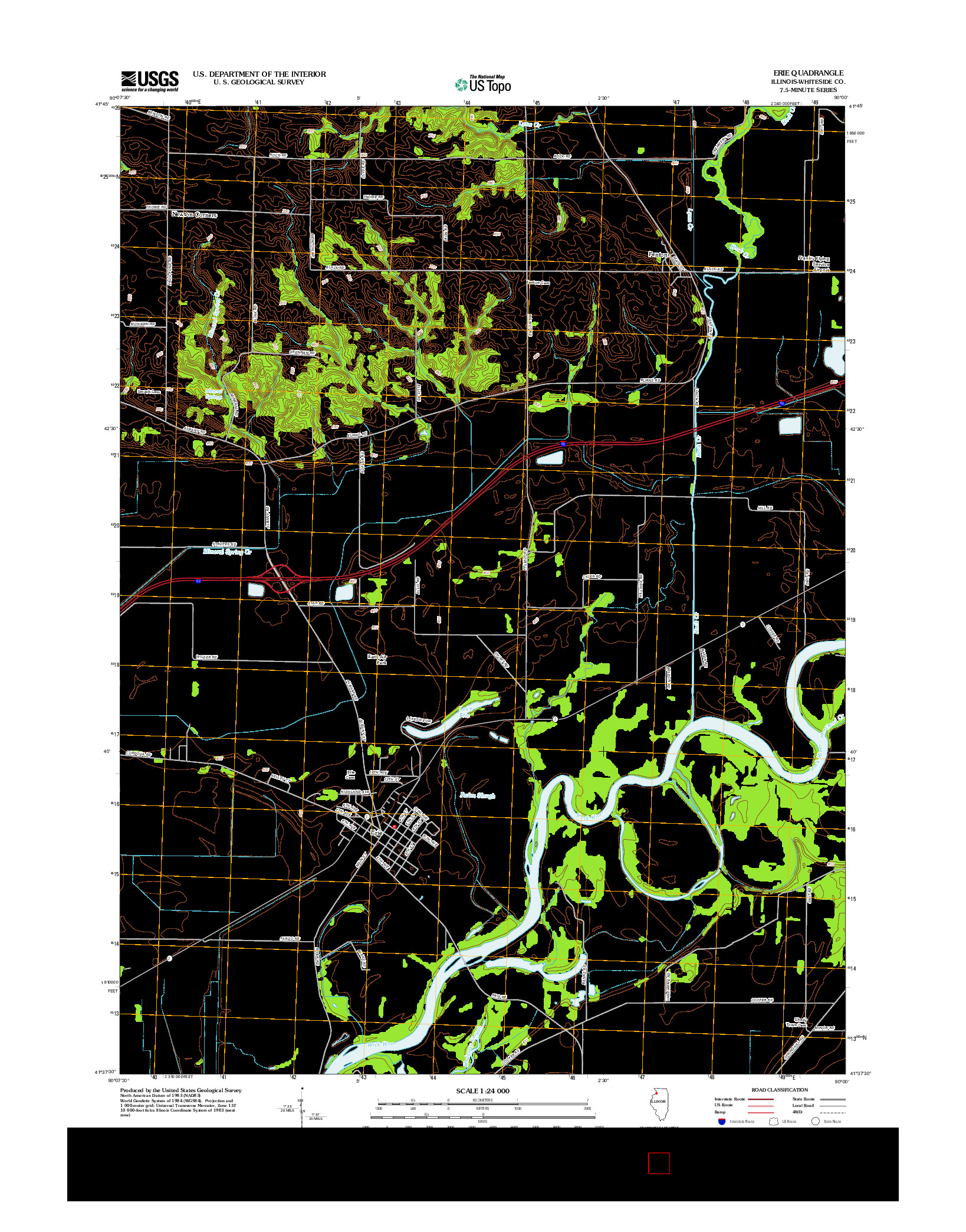 USGS US TOPO 7.5-MINUTE MAP FOR ERIE, IL 2012