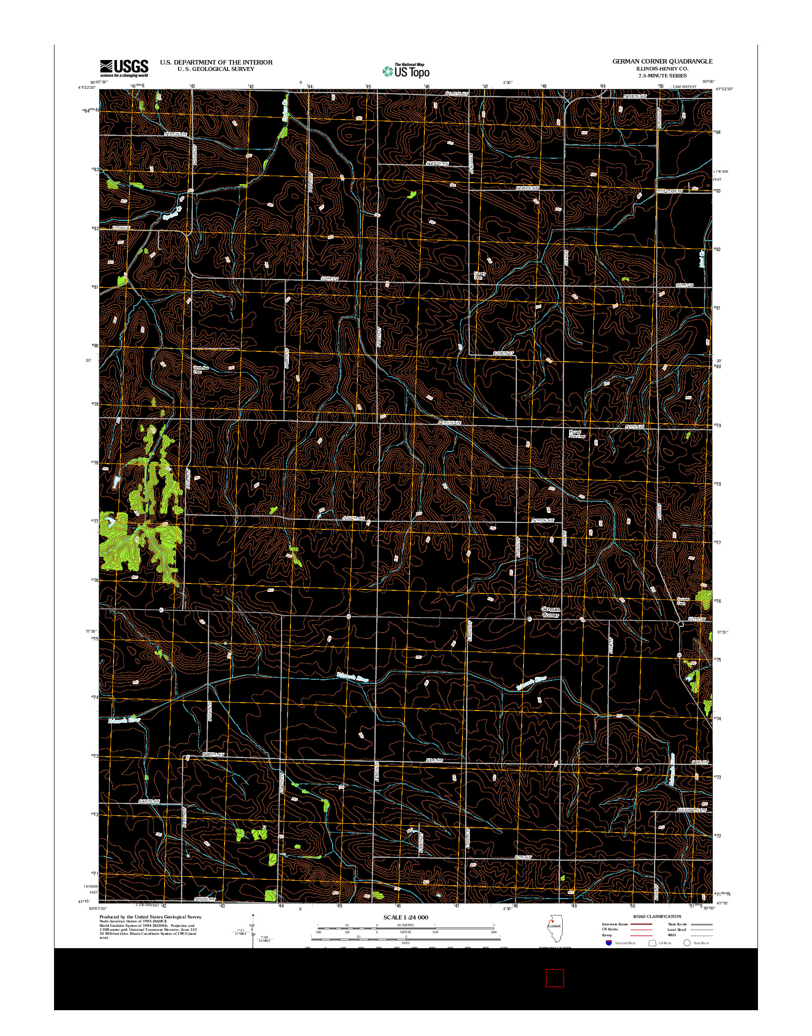 USGS US TOPO 7.5-MINUTE MAP FOR GERMAN CORNER, IL 2012