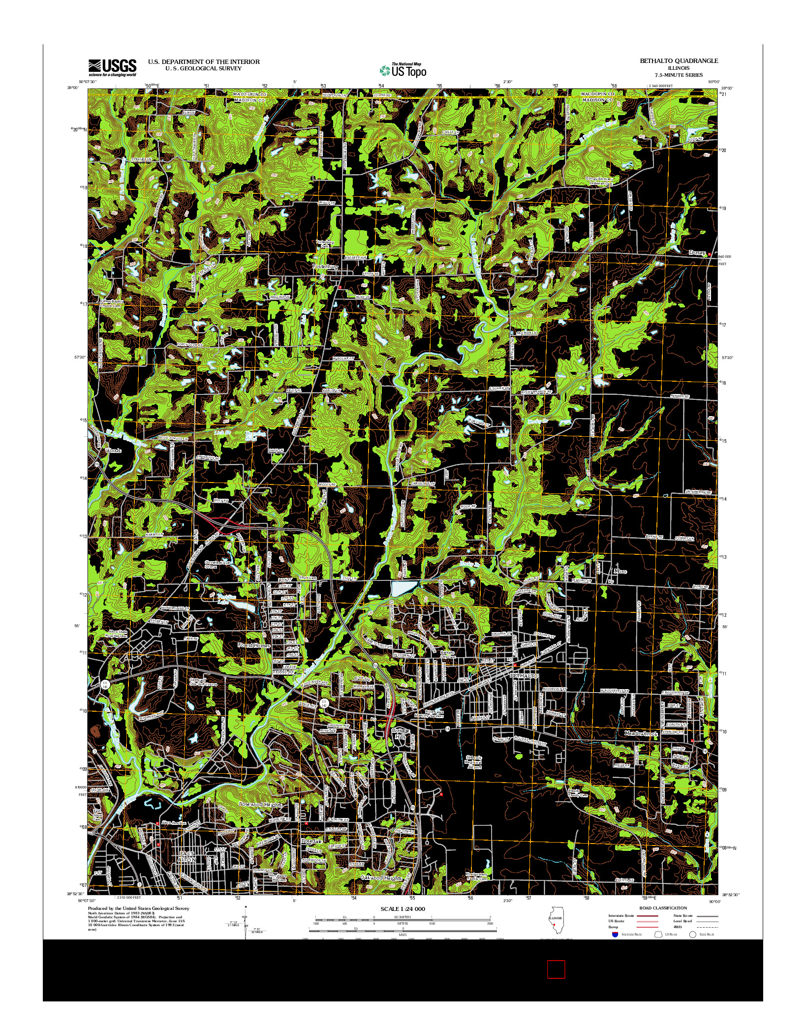 USGS US TOPO 7.5-MINUTE MAP FOR BETHALTO, IL 2012