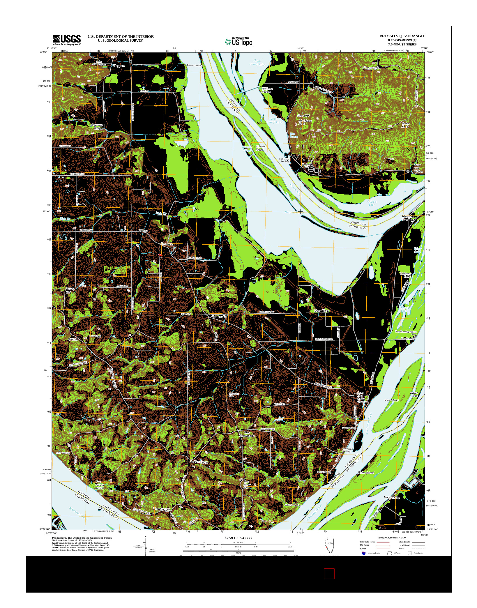 USGS US TOPO 7.5-MINUTE MAP FOR BRUSSELS, IL-MO 2012