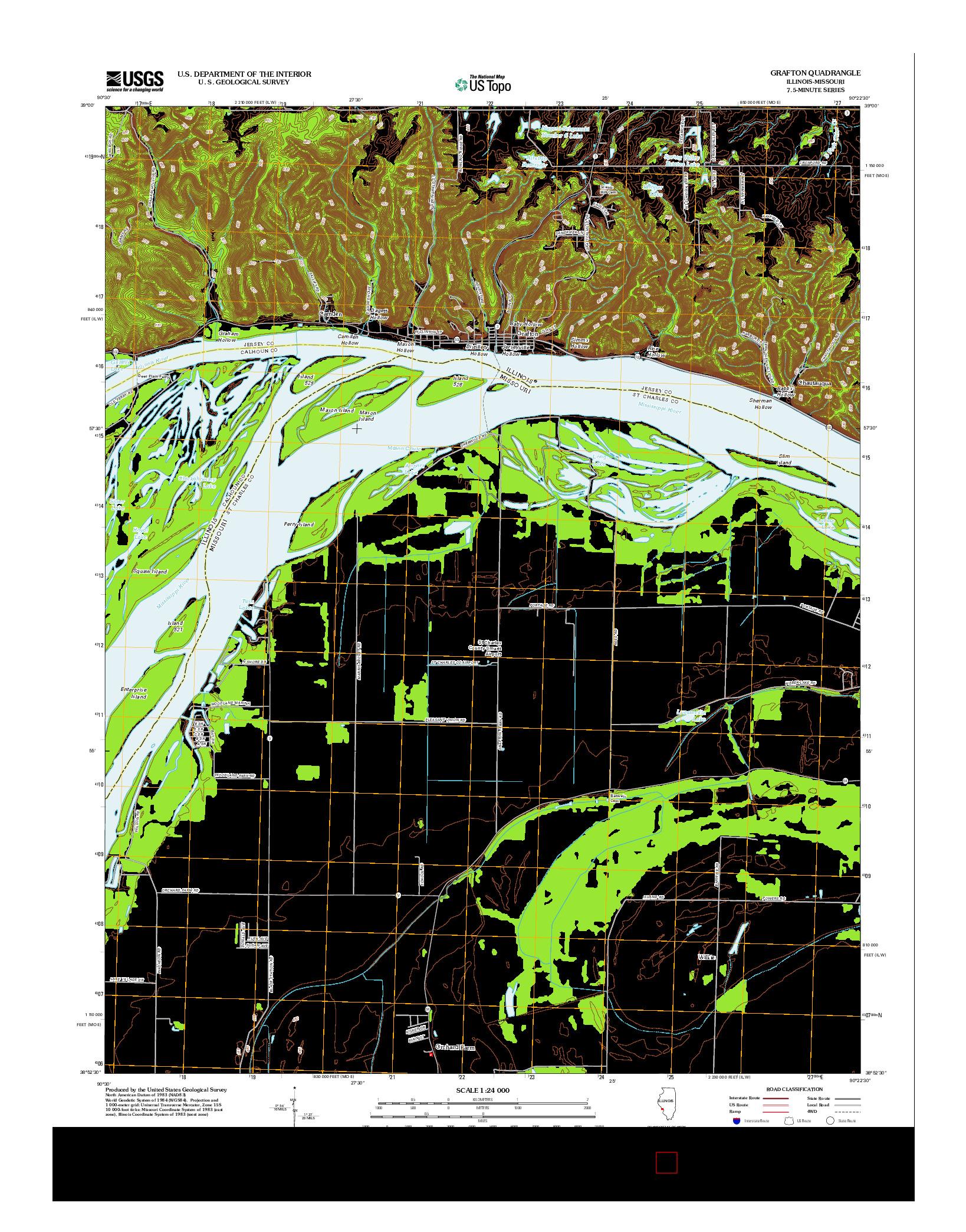USGS US TOPO 7.5-MINUTE MAP FOR GRAFTON, IL-MO 2012
