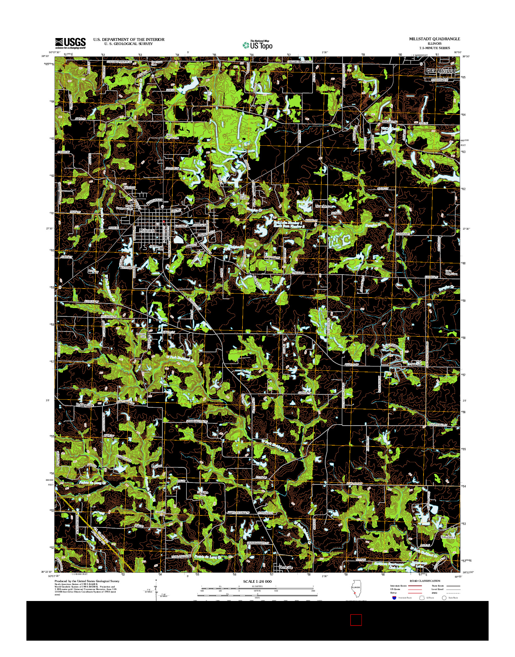 USGS US TOPO 7.5-MINUTE MAP FOR MILLSTADT, IL 2012