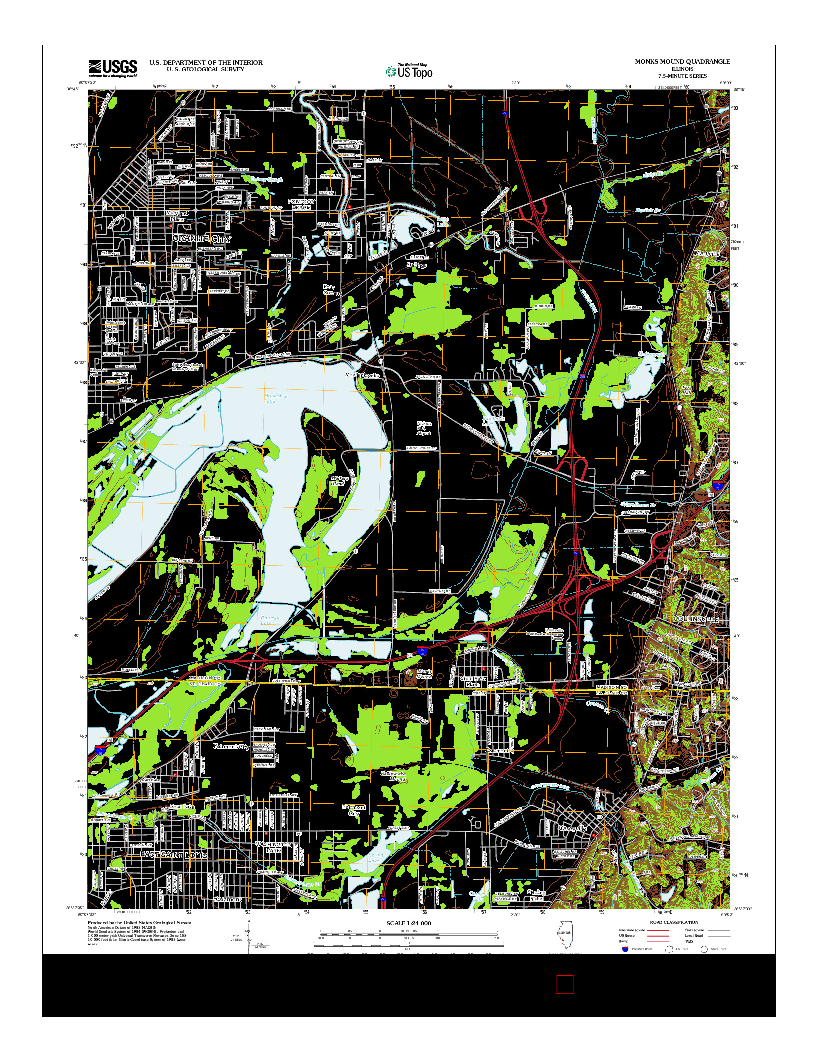 USGS US TOPO 7.5-MINUTE MAP FOR MONKS MOUND, IL 2012