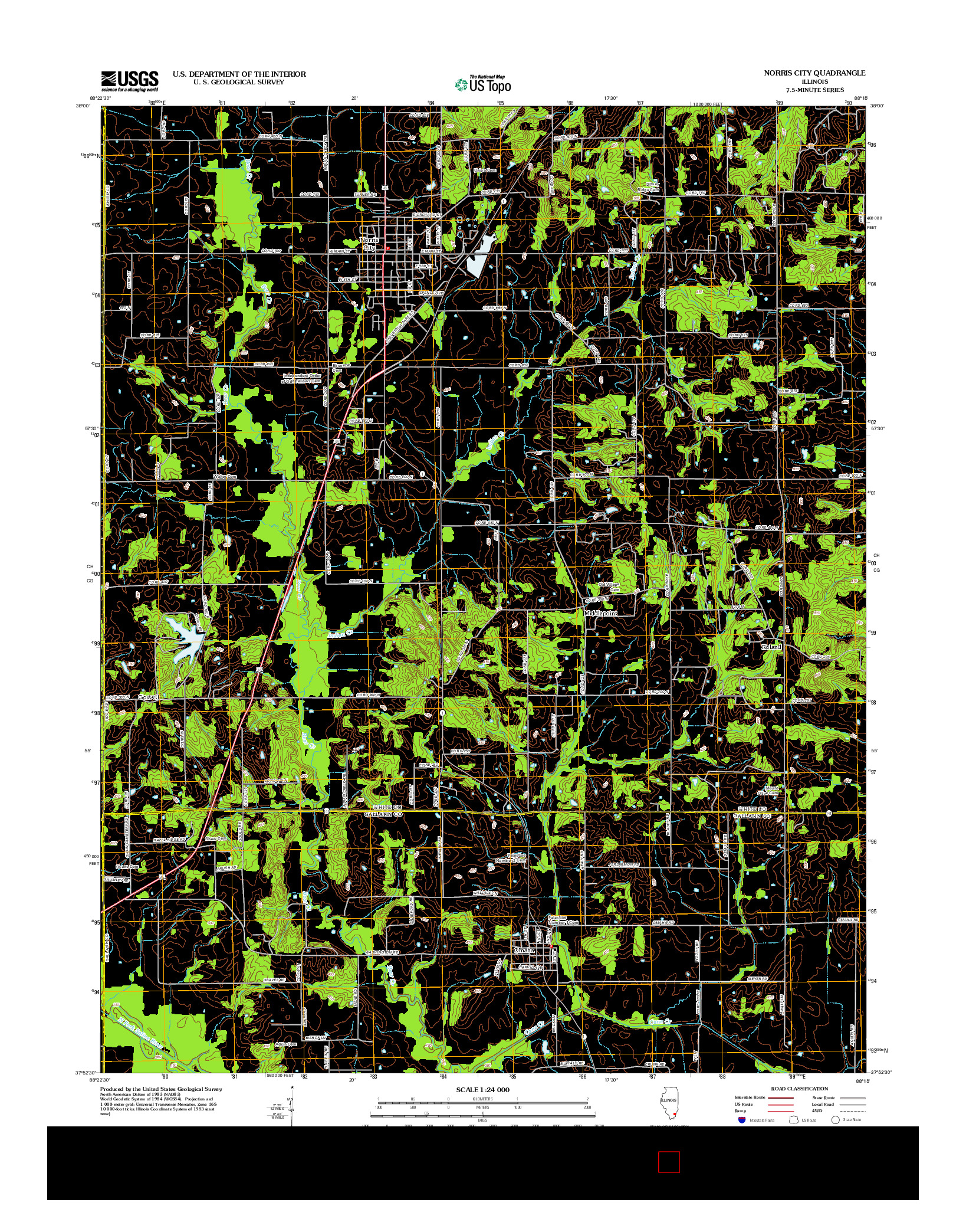 USGS US TOPO 7.5-MINUTE MAP FOR NORRIS CITY, IL 2012