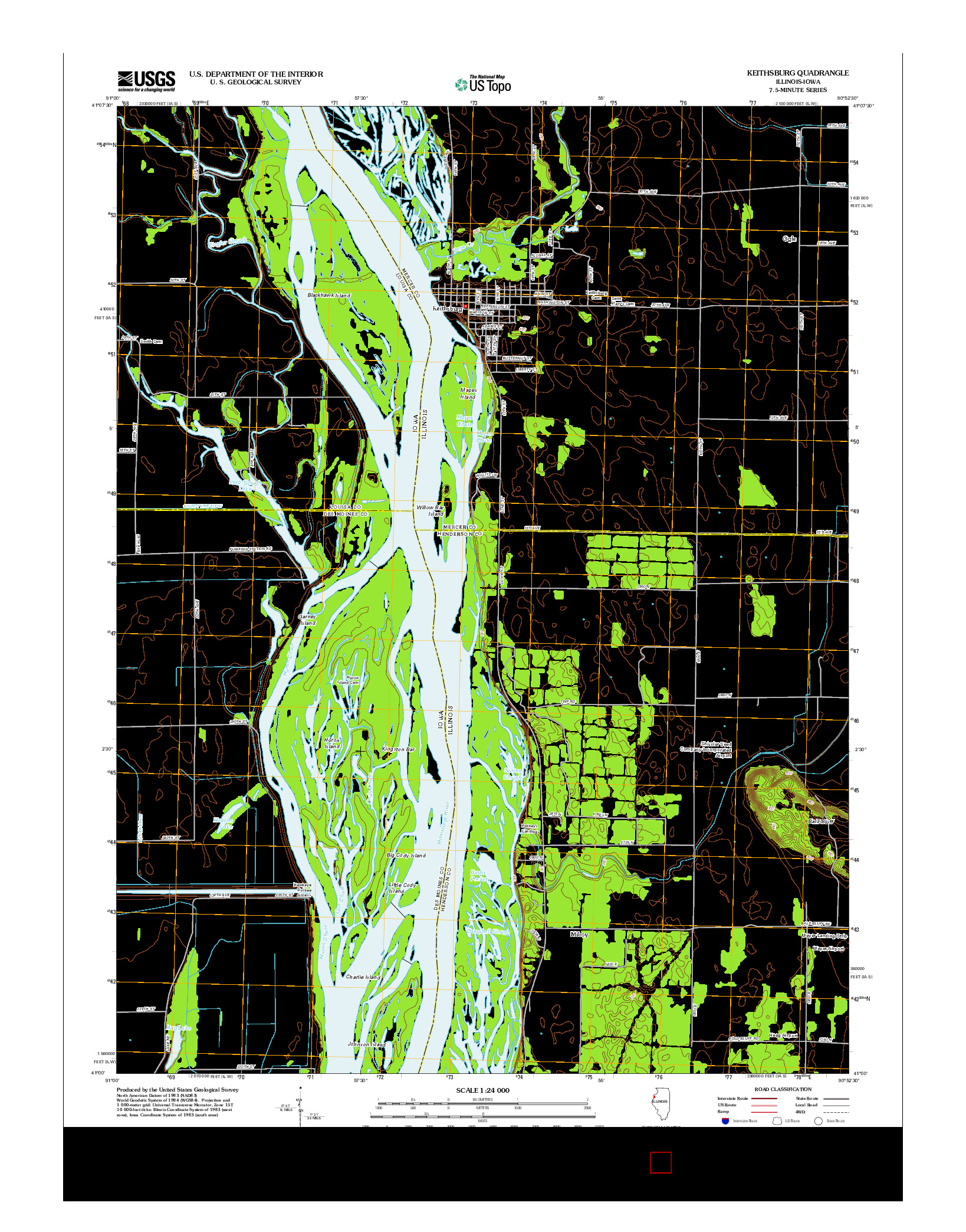 USGS US TOPO 7.5-MINUTE MAP FOR KEITHSBURG, IL-IA 2012