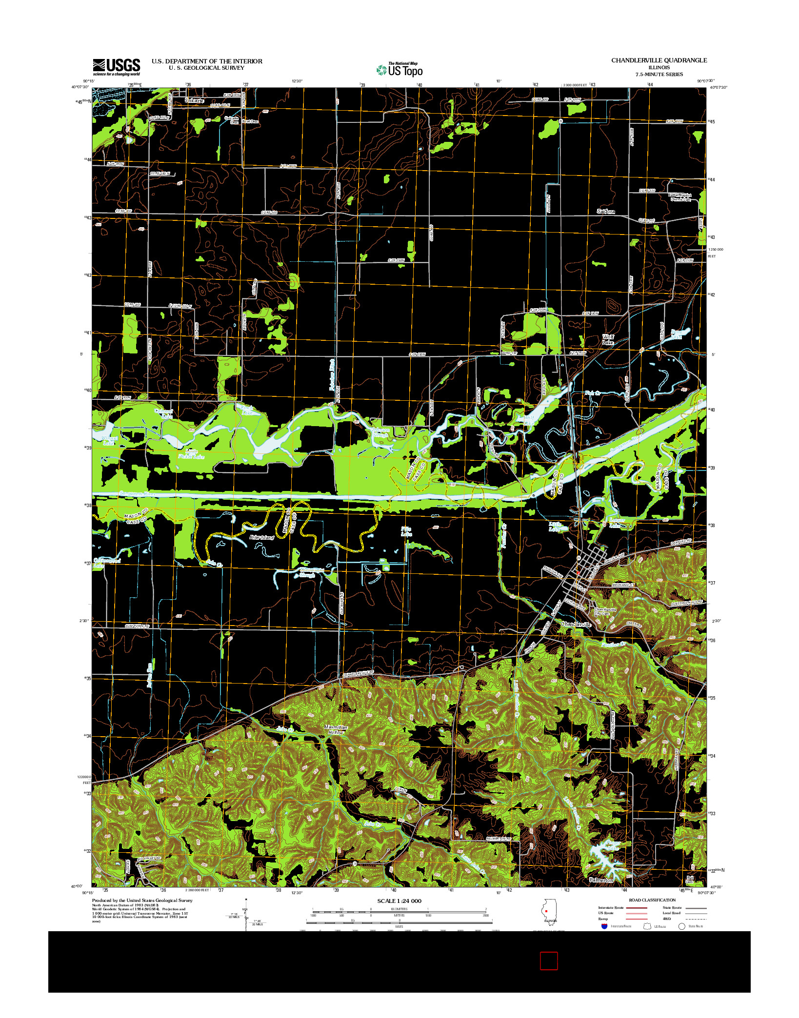 USGS US TOPO 7.5-MINUTE MAP FOR CHANDLERVILLE, IL 2012