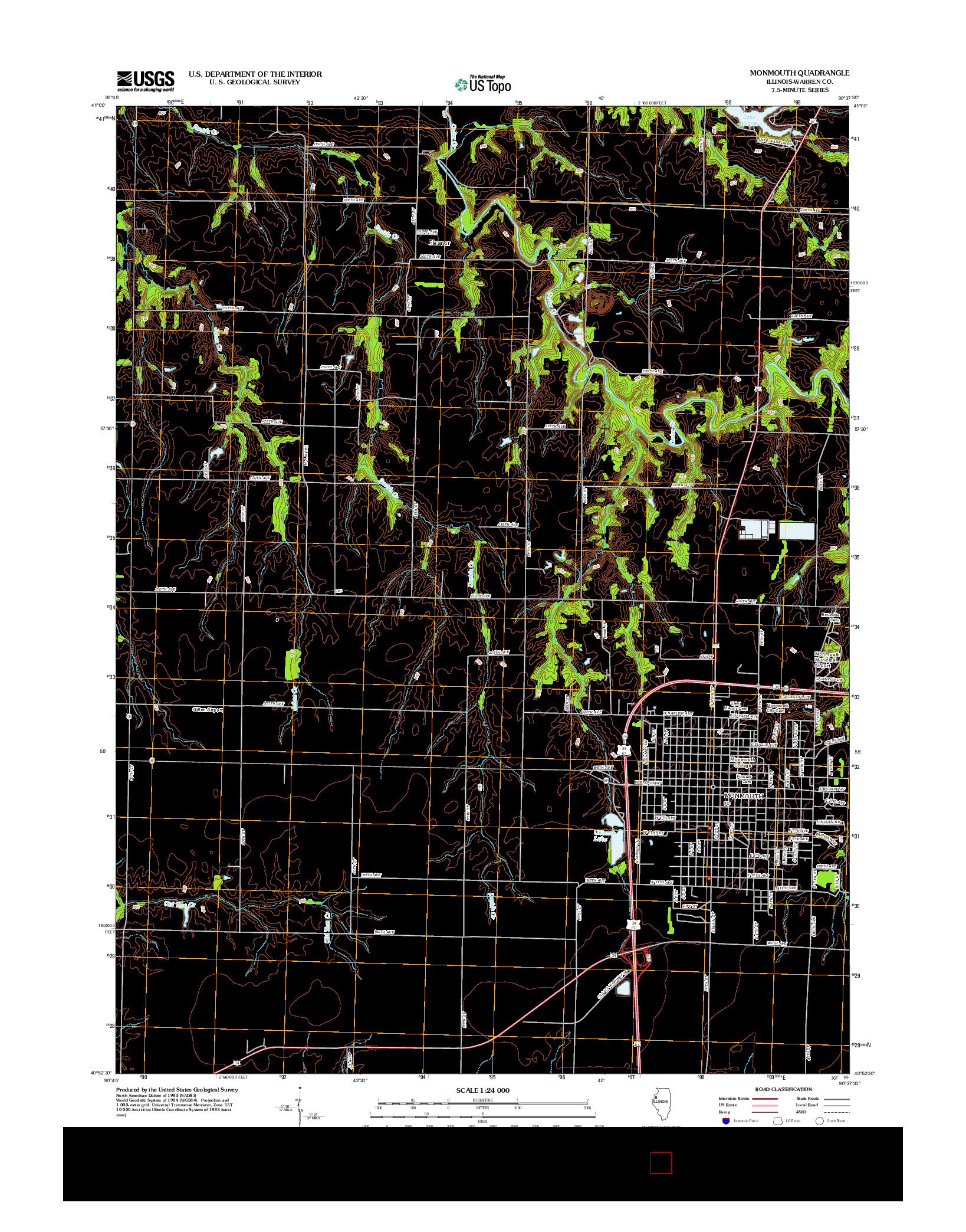 USGS US TOPO 7.5-MINUTE MAP FOR MONMOUTH, IL 2012