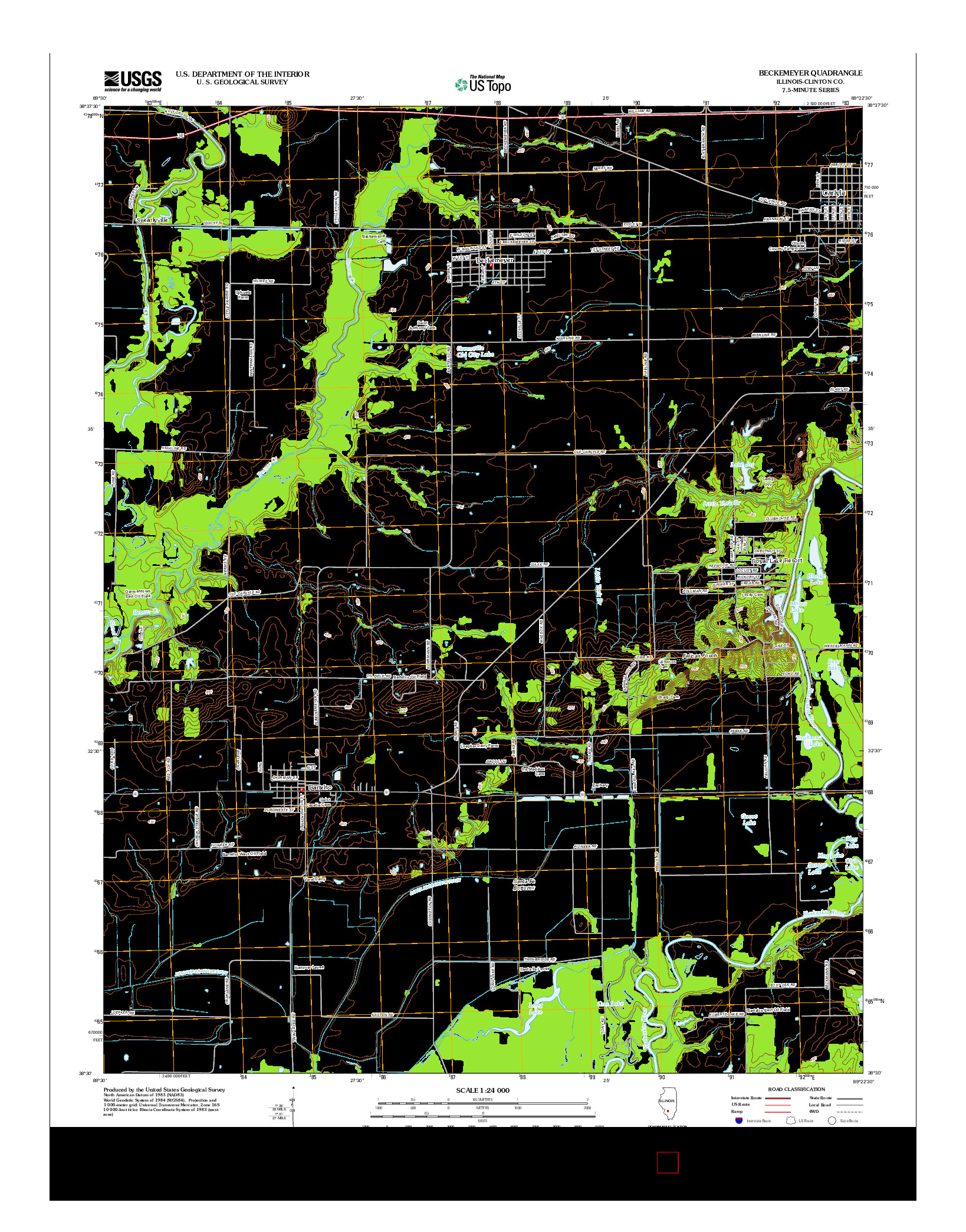 USGS US TOPO 7.5-MINUTE MAP FOR BECKEMEYER, IL 2012