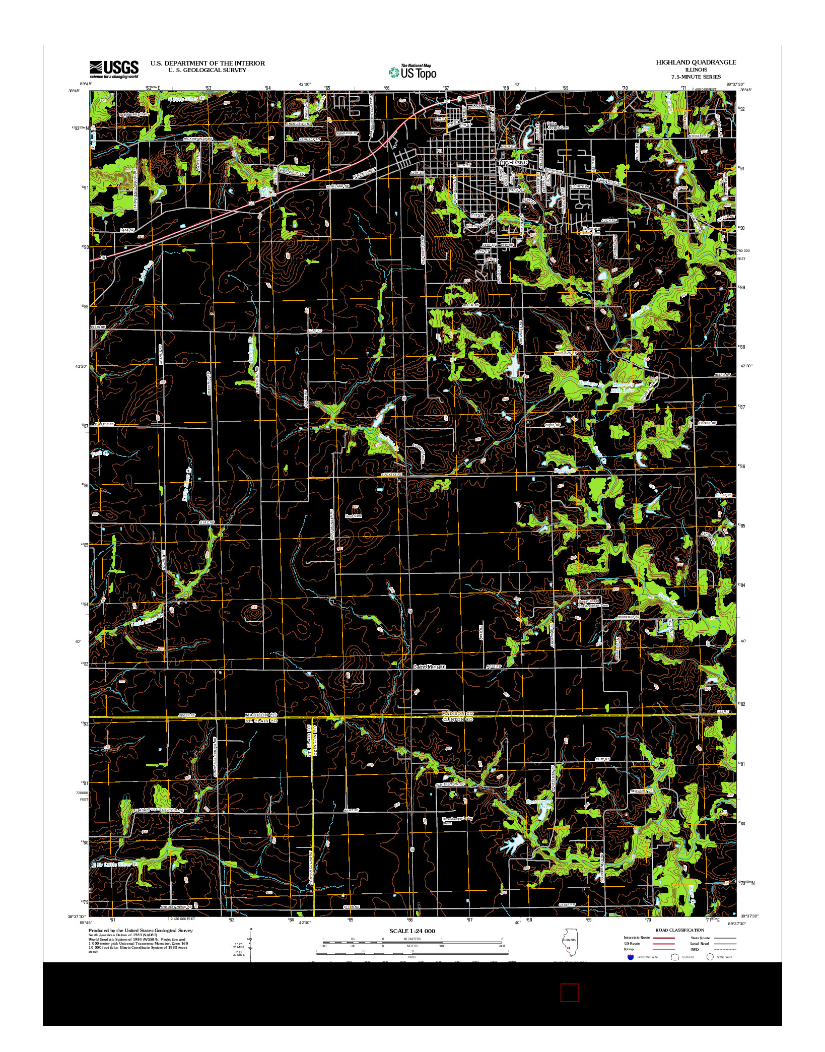 USGS US TOPO 7.5-MINUTE MAP FOR HIGHLAND, IL 2012