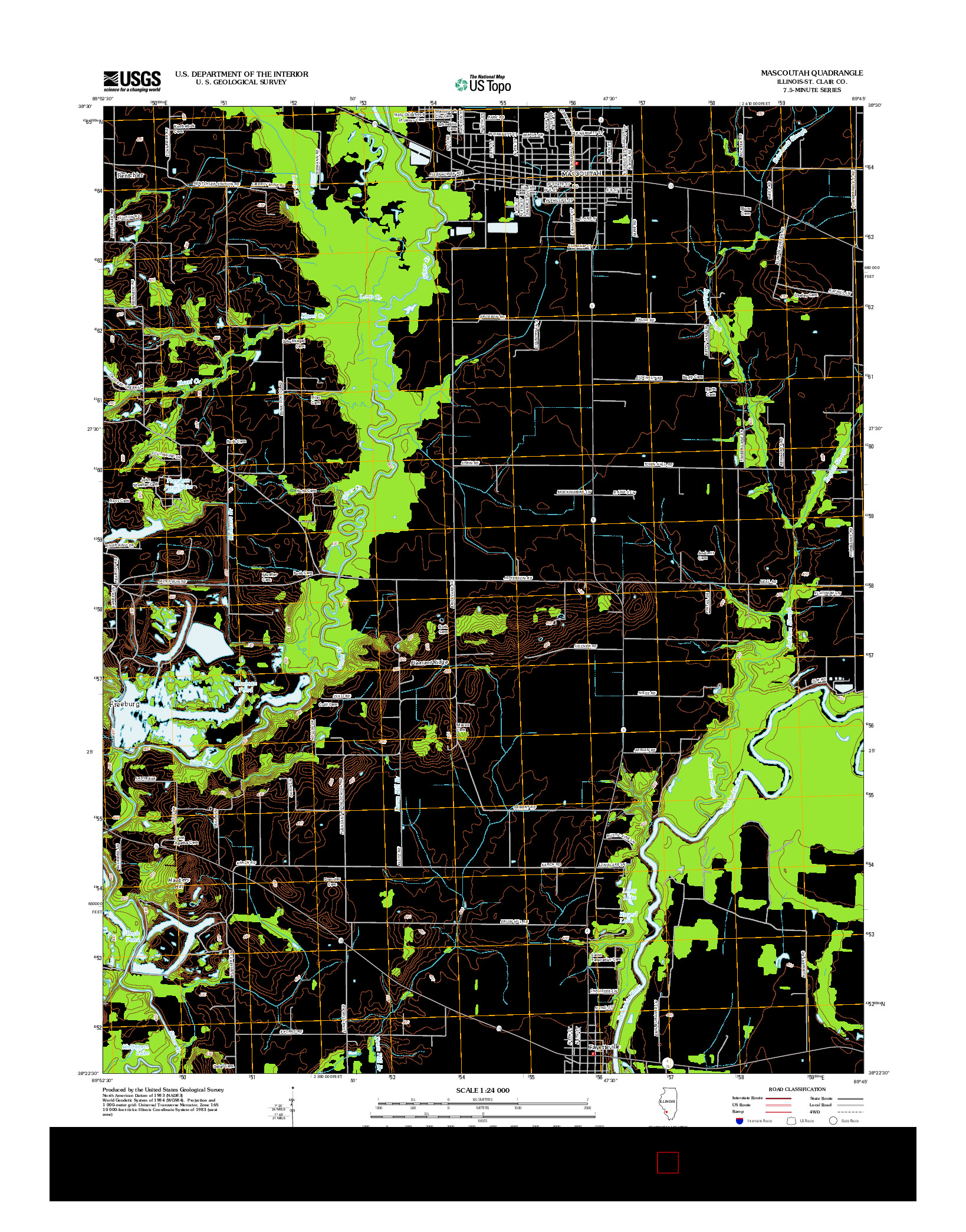 USGS US TOPO 7.5-MINUTE MAP FOR MASCOUTAH, IL 2012