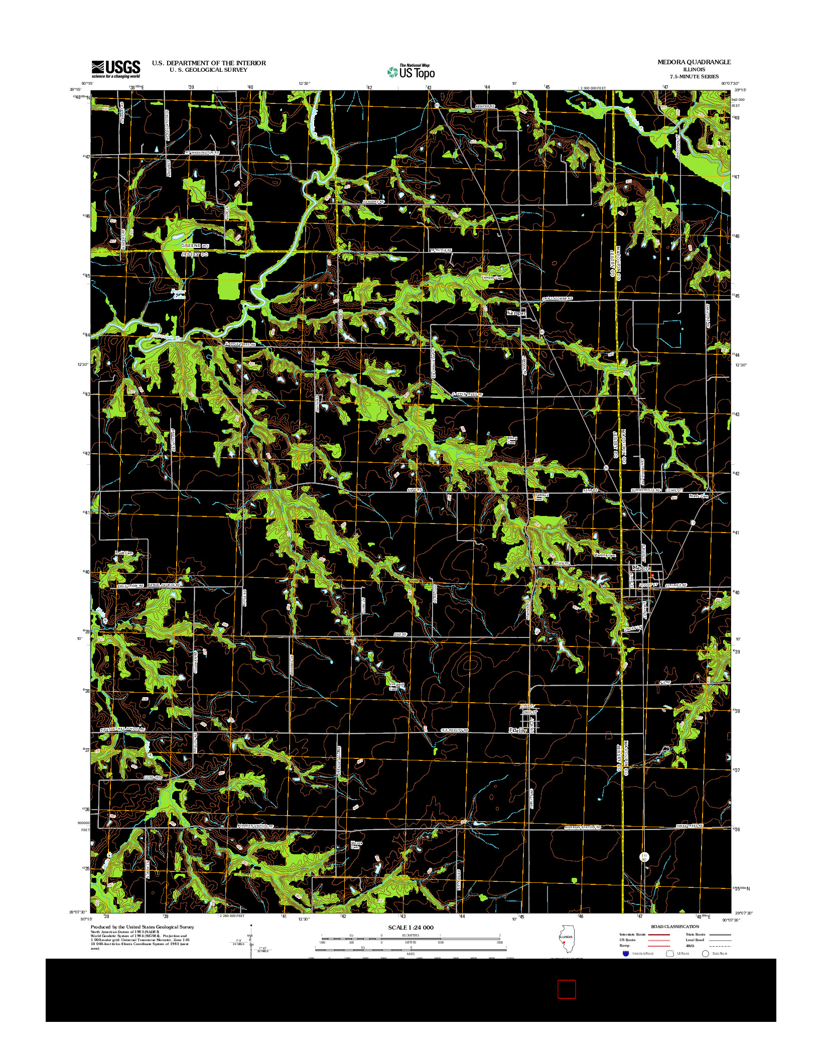 USGS US TOPO 7.5-MINUTE MAP FOR MEDORA, IL 2012