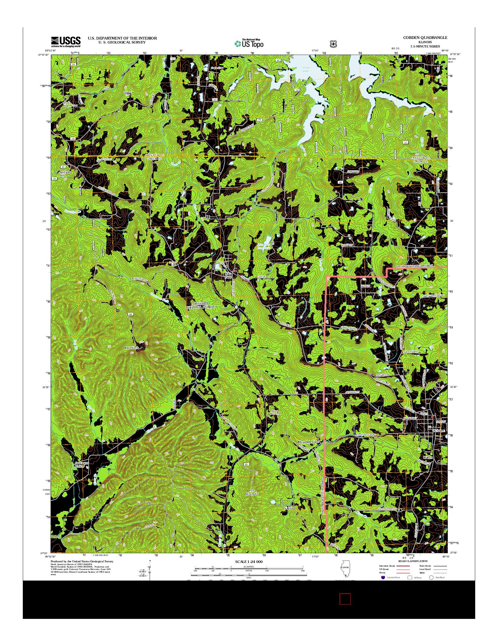 USGS US TOPO 7.5-MINUTE MAP FOR COBDEN, IL 2012