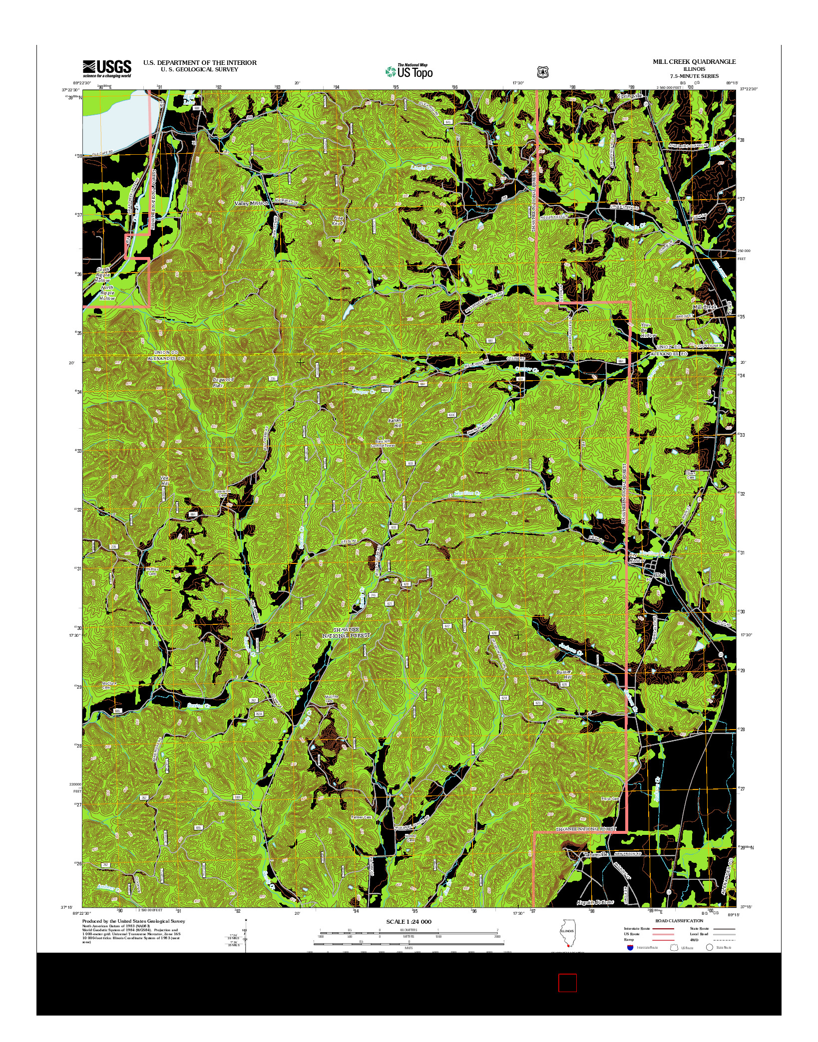 USGS US TOPO 7.5-MINUTE MAP FOR MILL CREEK, IL 2012