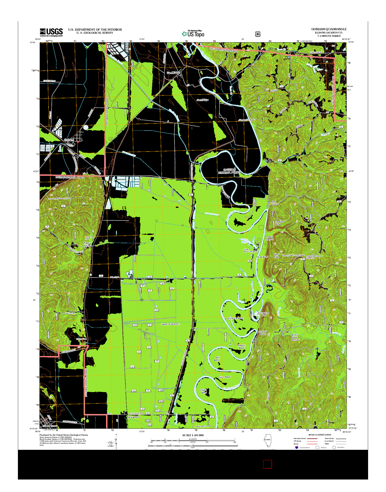 USGS US TOPO 7.5-MINUTE MAP FOR GORHAM, IL 2012