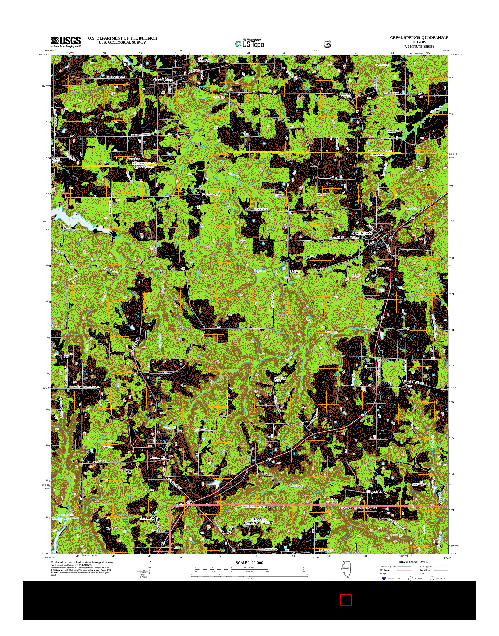 USGS US TOPO 7.5-MINUTE MAP FOR CREAL SPRINGS, IL 2012